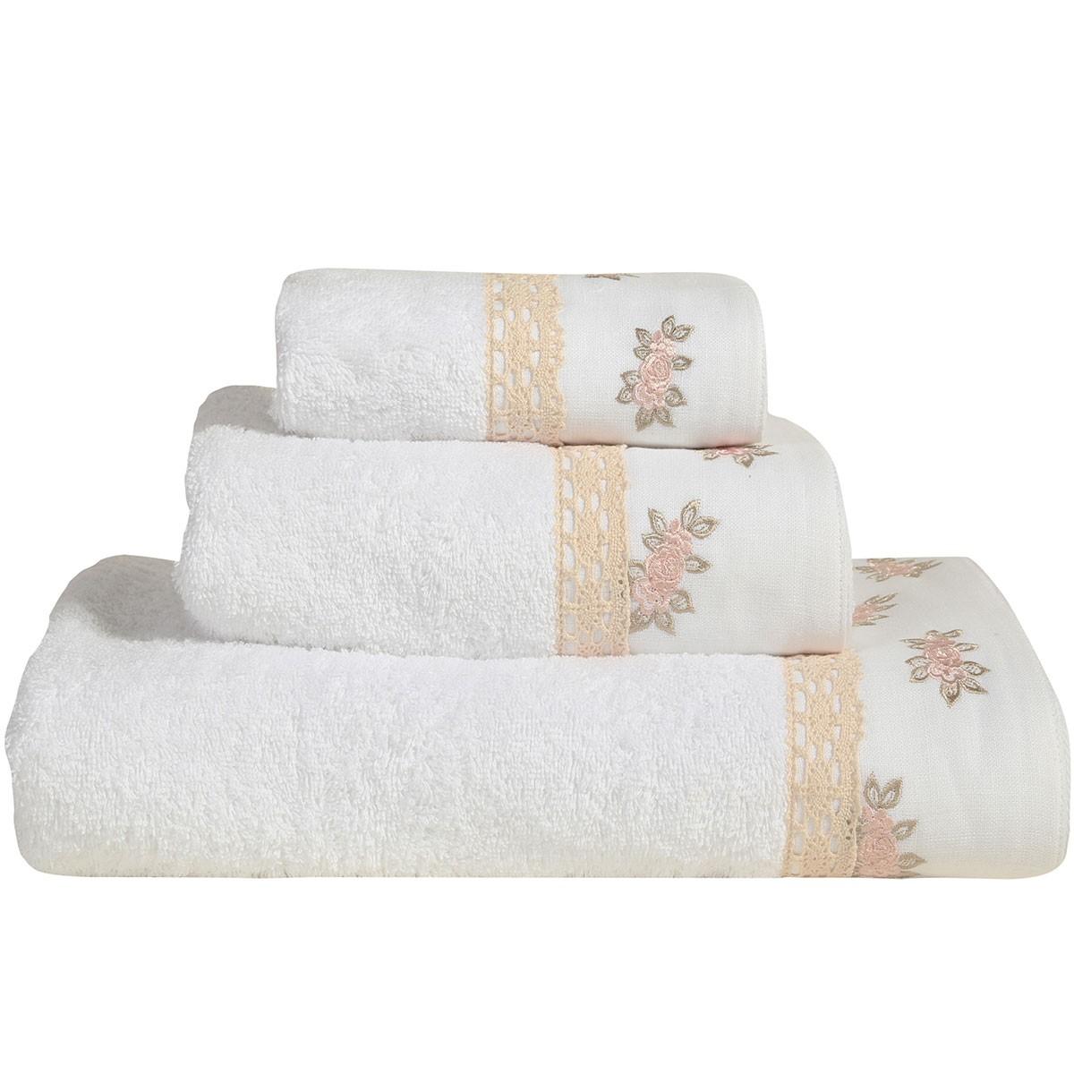 Πετσέτες Μπάνιου (Σετ 3τμχ) Nef-Nef Linen Roses