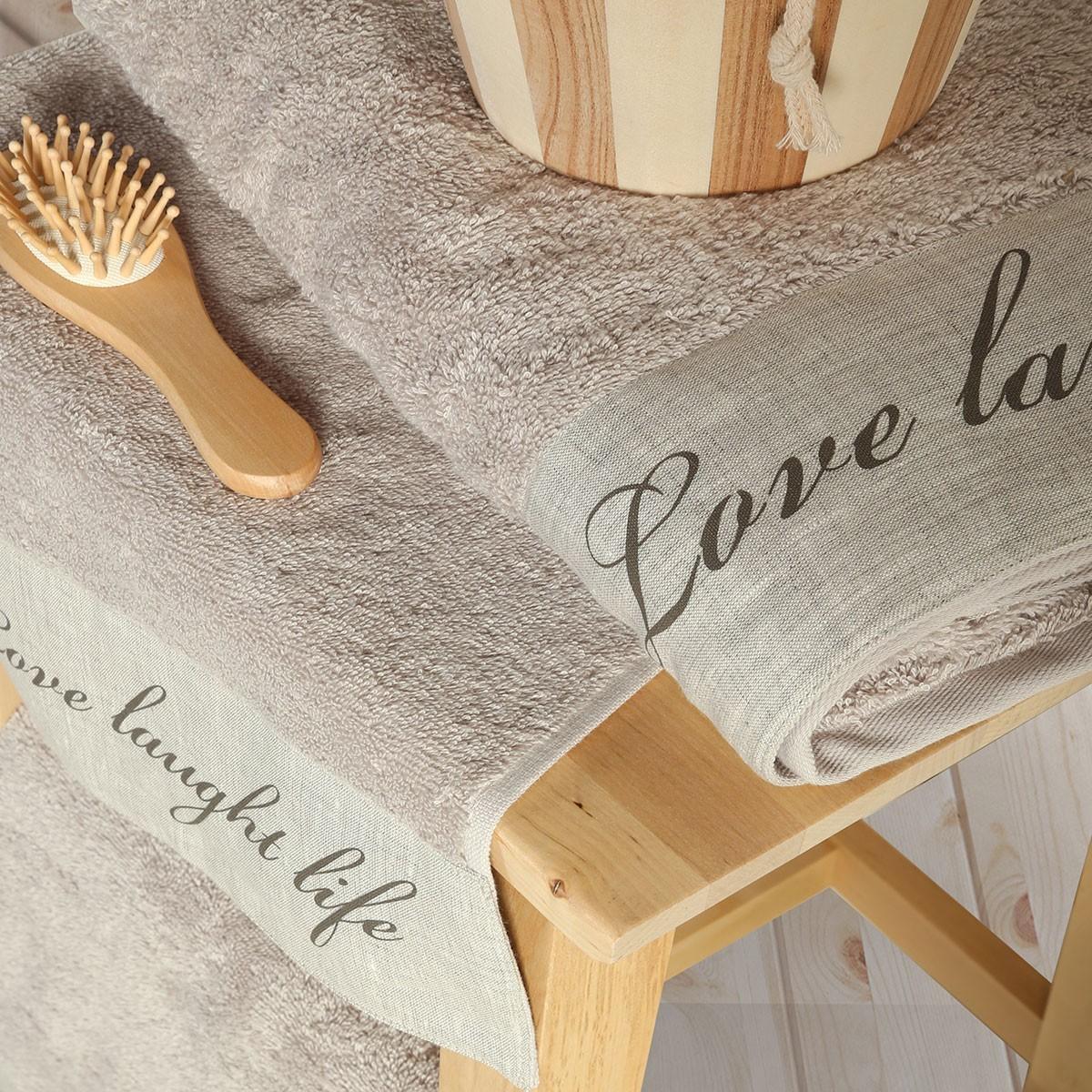 Πετσέτες Μπάνιου (Σετ 3τμχ) Nef-Nef Love Laugh Live