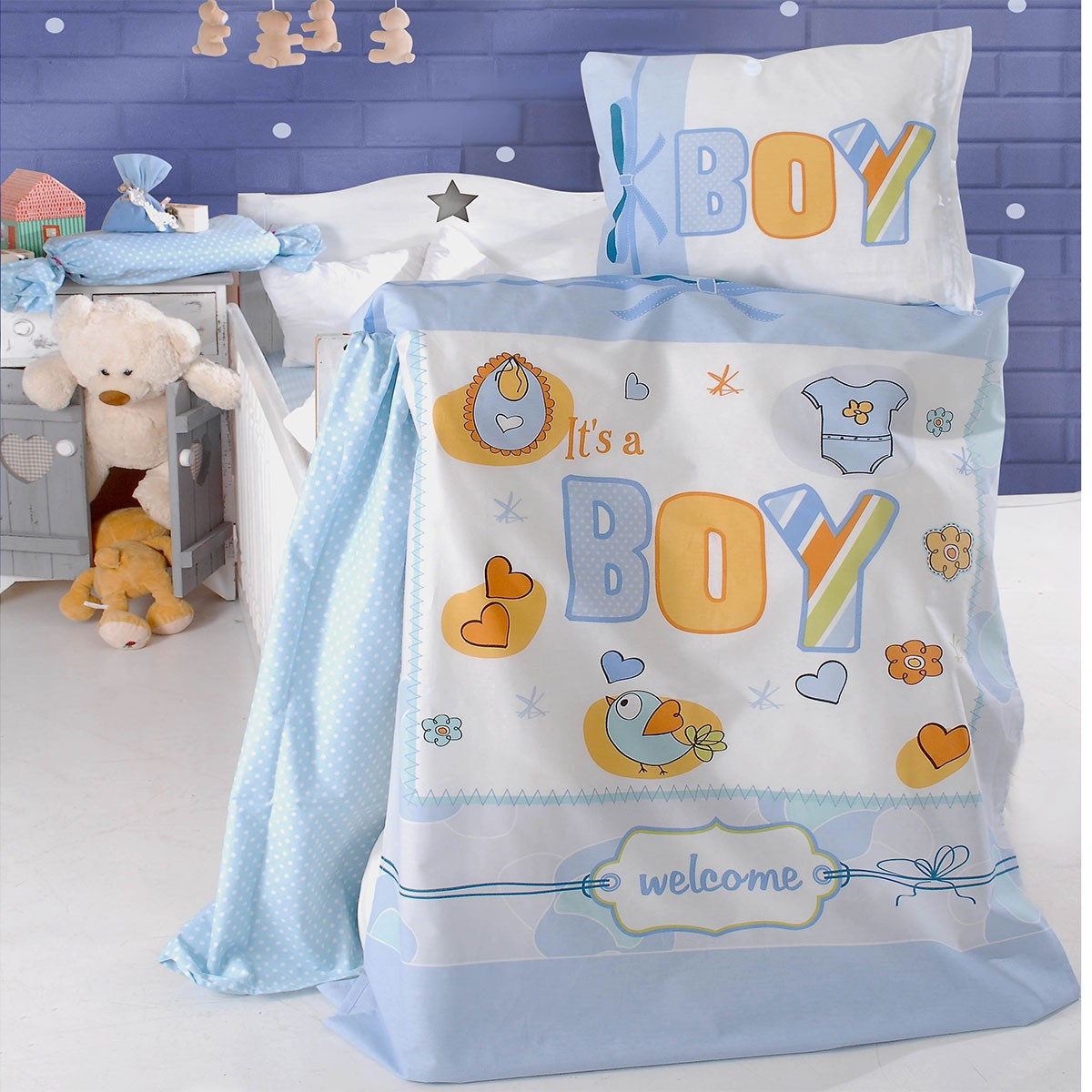 Σεντόνια Κούνιας (Σετ) Rythmos It's A Boy