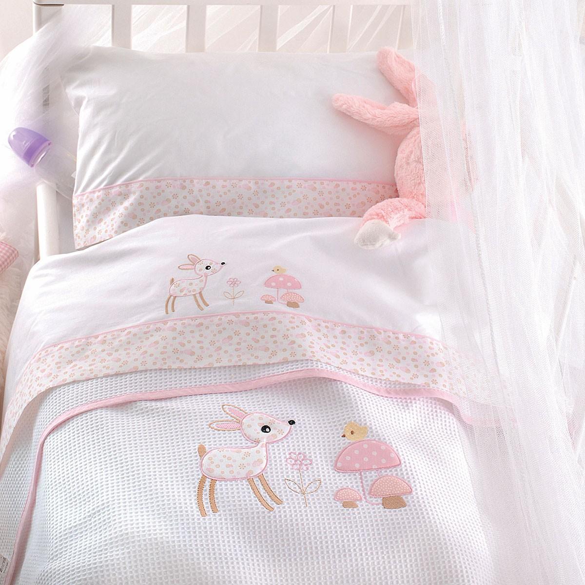 Κουβέρτα Πικέ Κούνιας Rythmos Roudi Pink