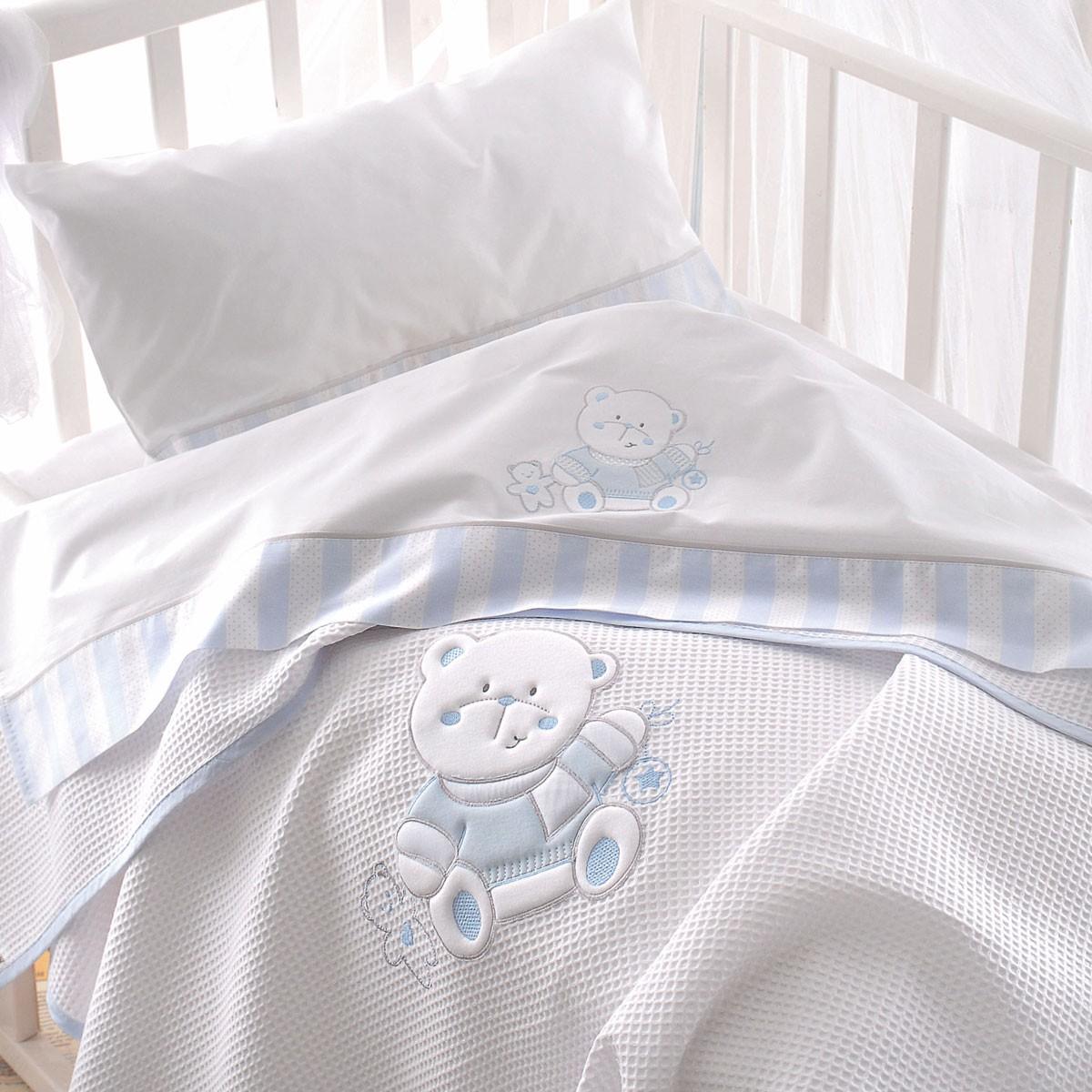 Κουβέρτα Πικέ Κούνιας Rythmos Smile Ciel