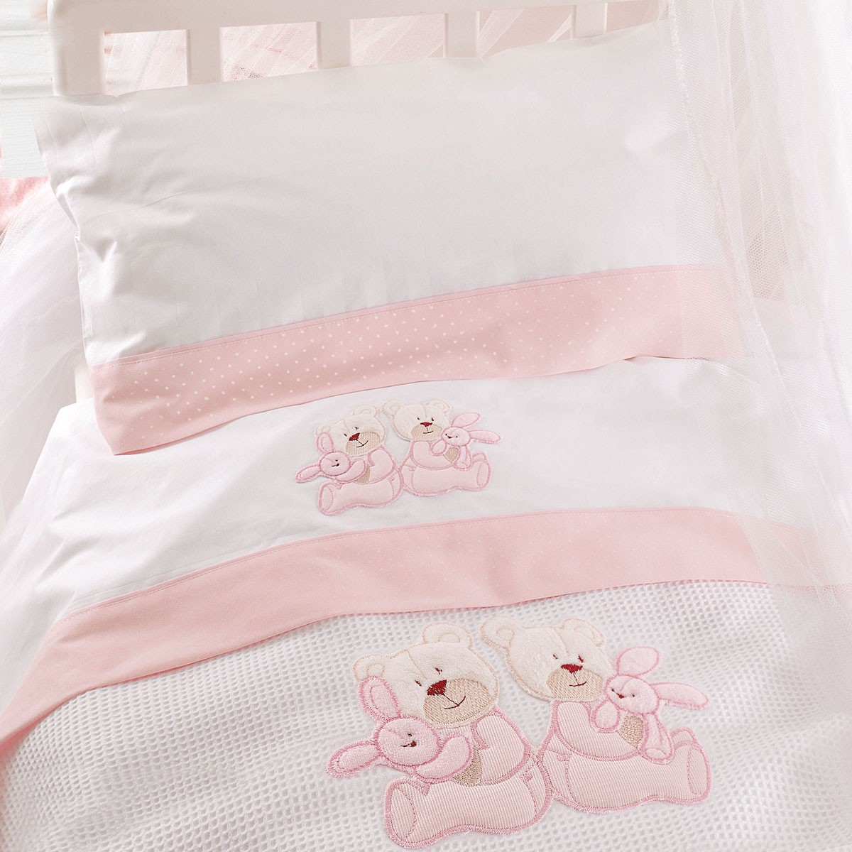 Σεντόνια Κούνιας (Σετ) Rythmos Twins Pink