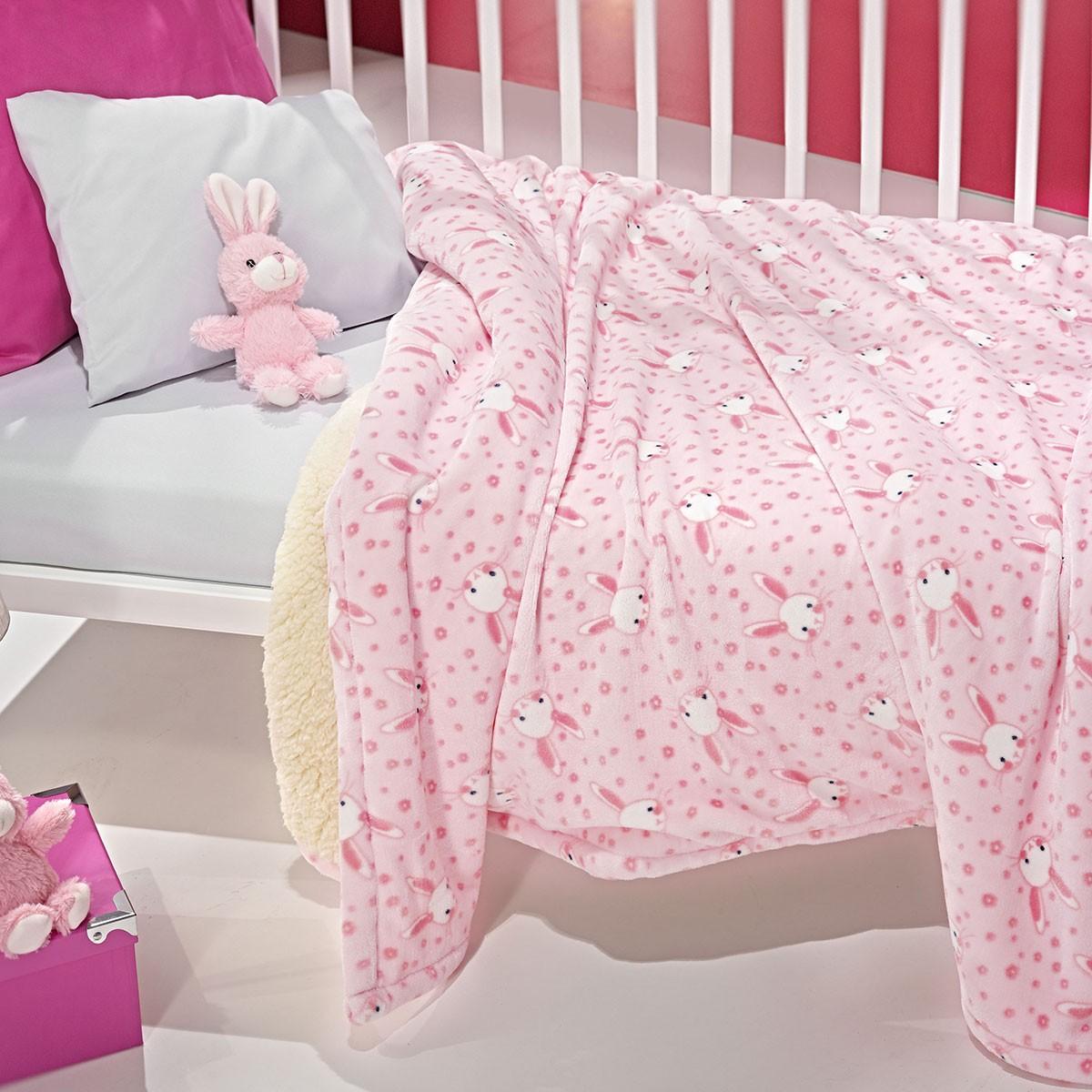 Κουβέρτα Fleece Κούνιας Με Γουνάκι Nima Bow Wow Bunny