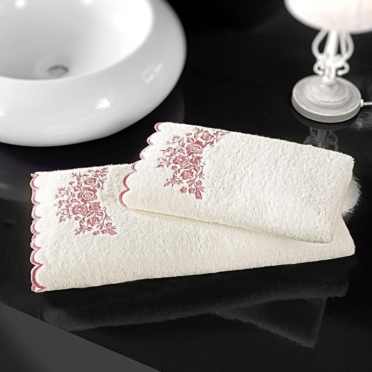 Πετσέτες Μπάνιου (Σετ 2τμχ) Nima Lafayette Old Blush