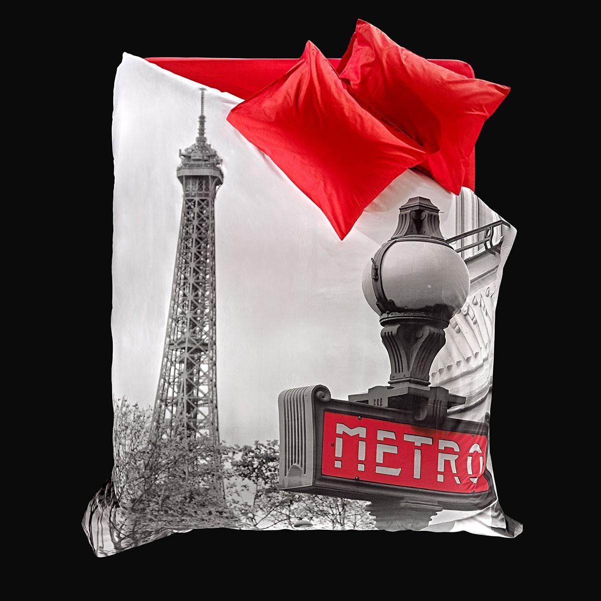 Παπλωματοθήκη Υπέρδιπλη (Σετ) Nima Focus Paris Metro
