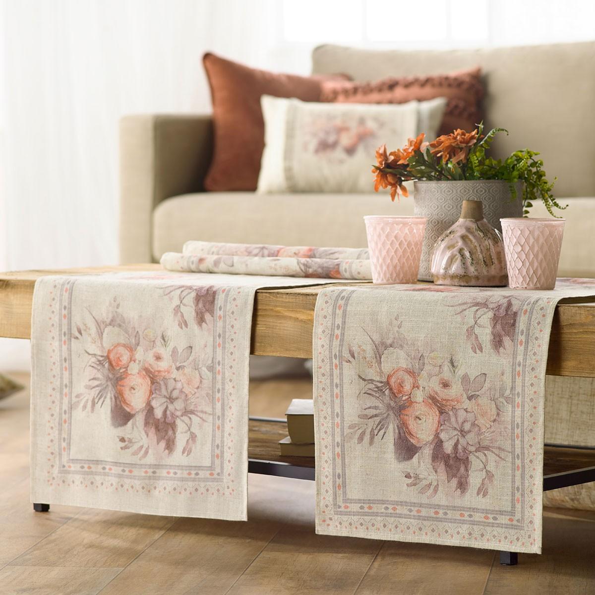 Τραβέρσα Gofis Home Bouquet Salmon 566/12
