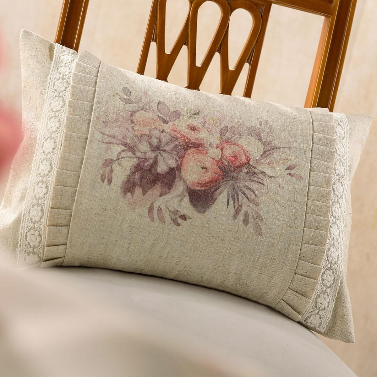 Διακοσμητική Μαξιλαροθήκη Gofis Home Bouquet Salmon 566/12