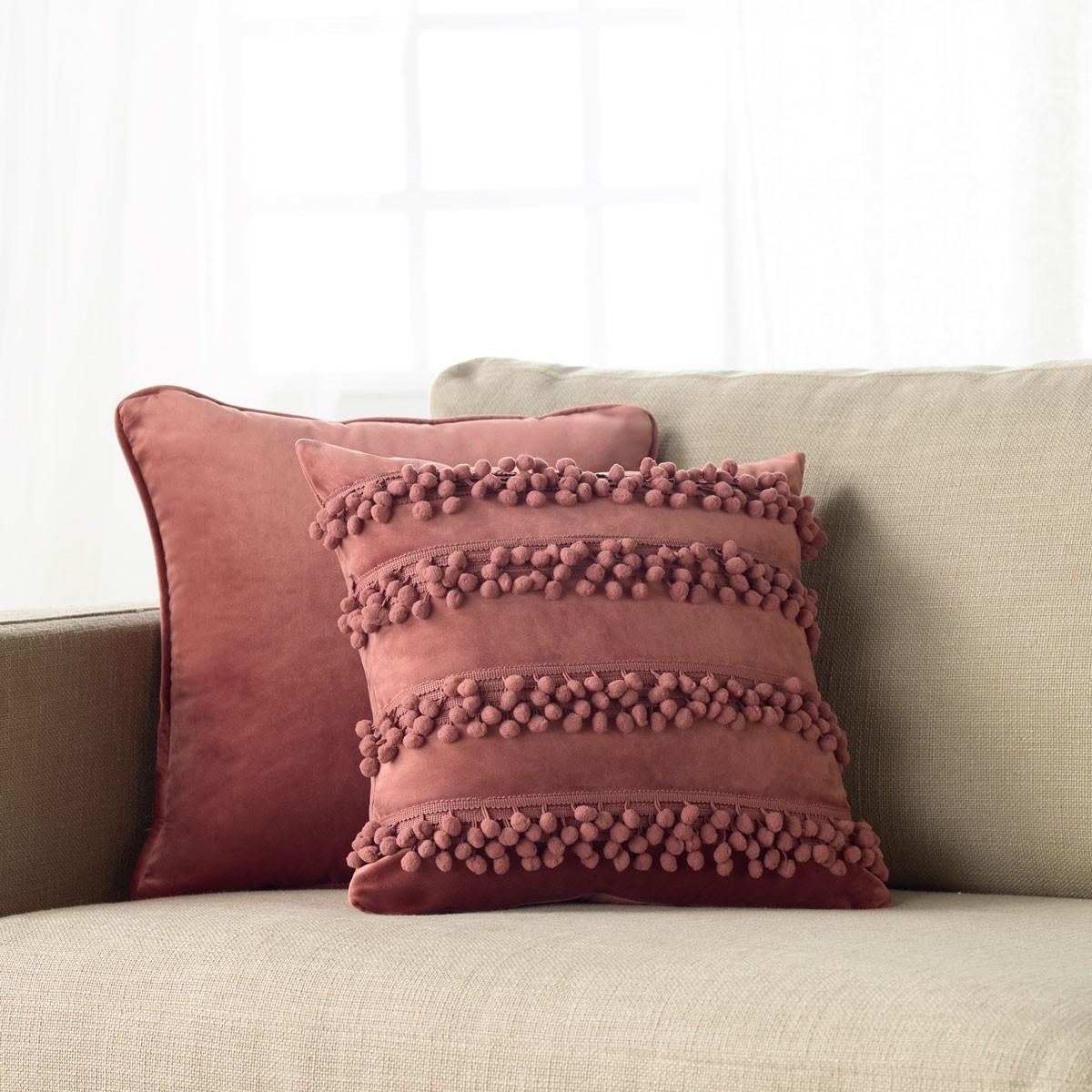 Διακοσμητική Μαξιλαροθήκη Gofis Home Pompones Pink 707/17