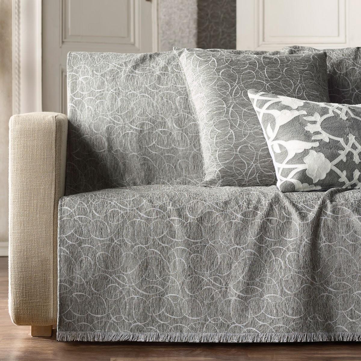 Ριχτάρι Πολυθρόνας (180×180) Gofis Home Scribble Grey 595/15