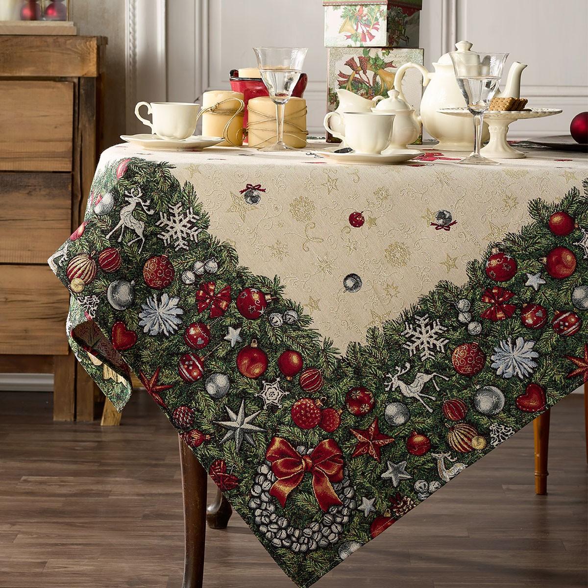 Χριστουγεννιάτικο Τραπεζομάντηλο (135×135) Gofis Home 209