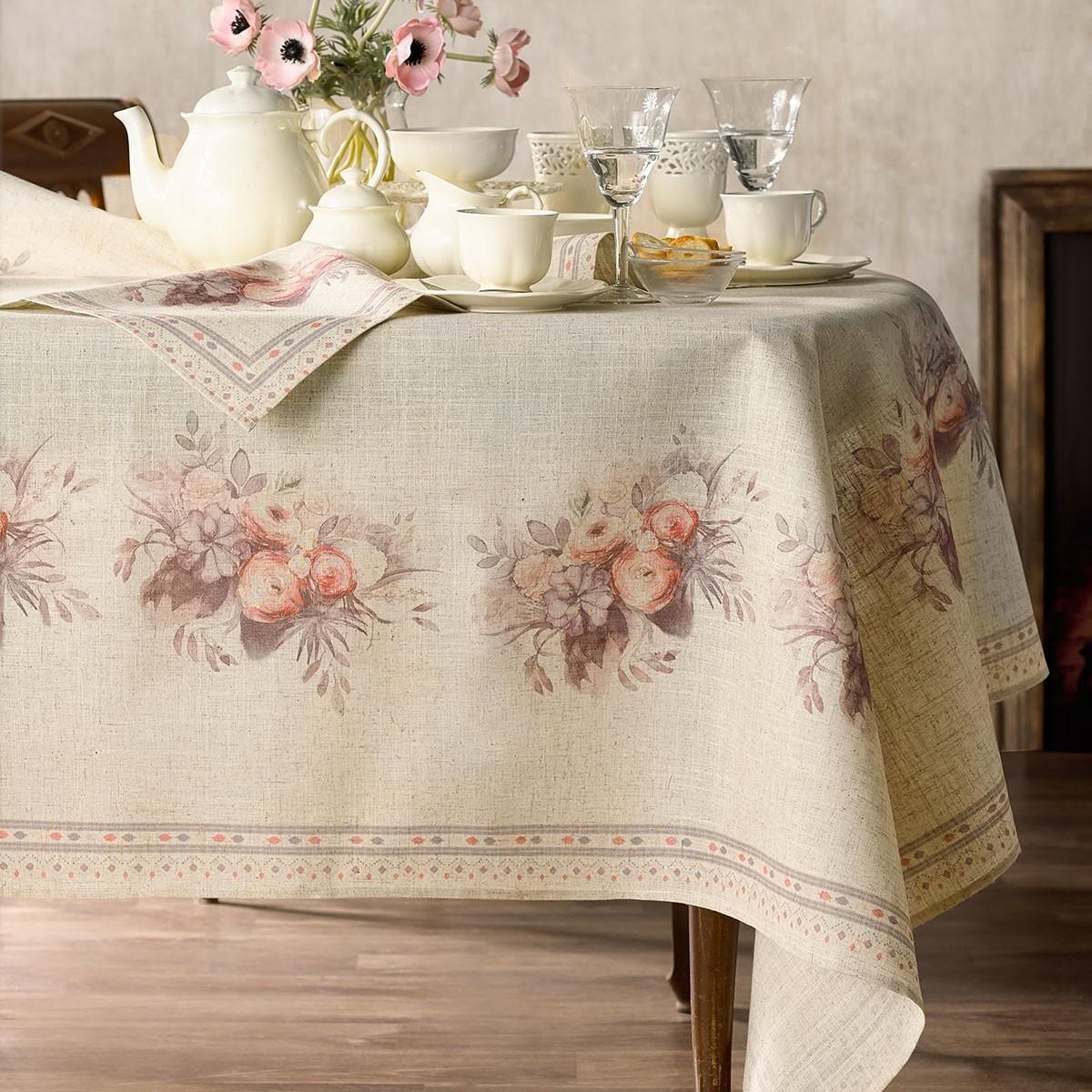 Τραπεζομάντηλο (145×220) Gofis Home Bouquet Salmon 566/12