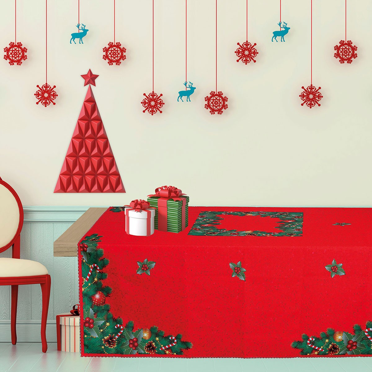 Χριστουγεννιάτικο Τραπεζομάντηλο (140×180) Das Home Kitchen 535