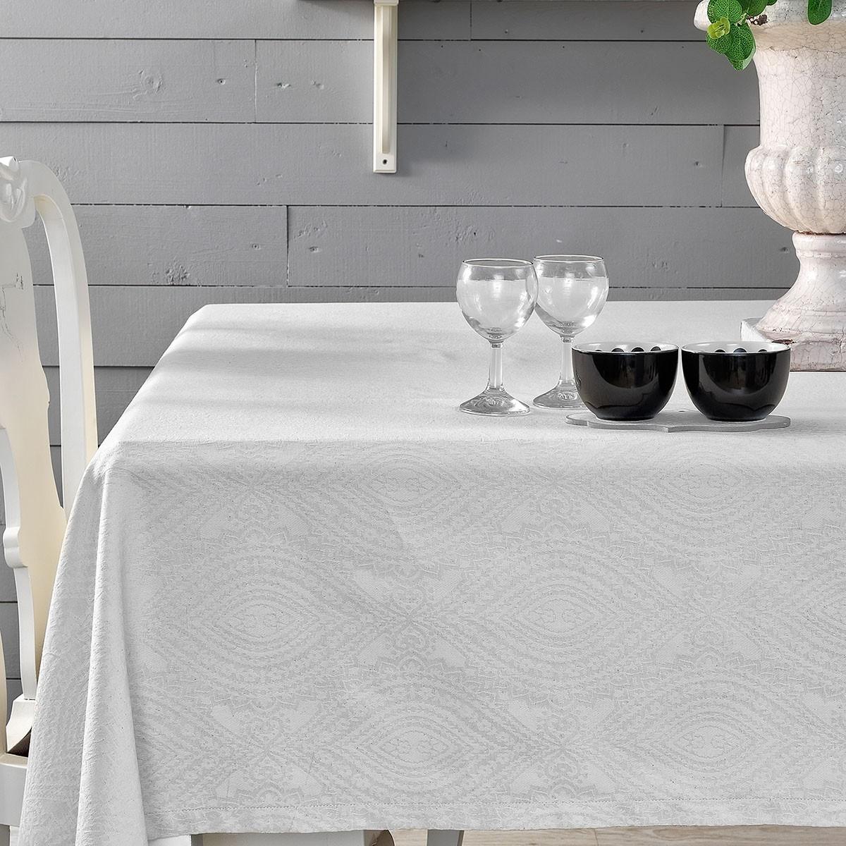 Τραπεζομάντηλο (160x250) Palamaiki Henna White