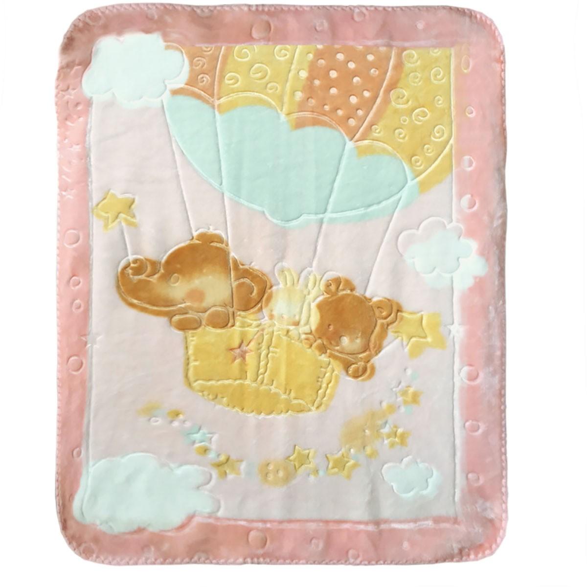 Κουβέρτα Βελουτέ Αγκαλιάς Palamaiki Parachute Pink