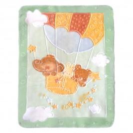 Κουβέρτα Βελουτέ Αγκαλιάς Palamaiki Parachute Green