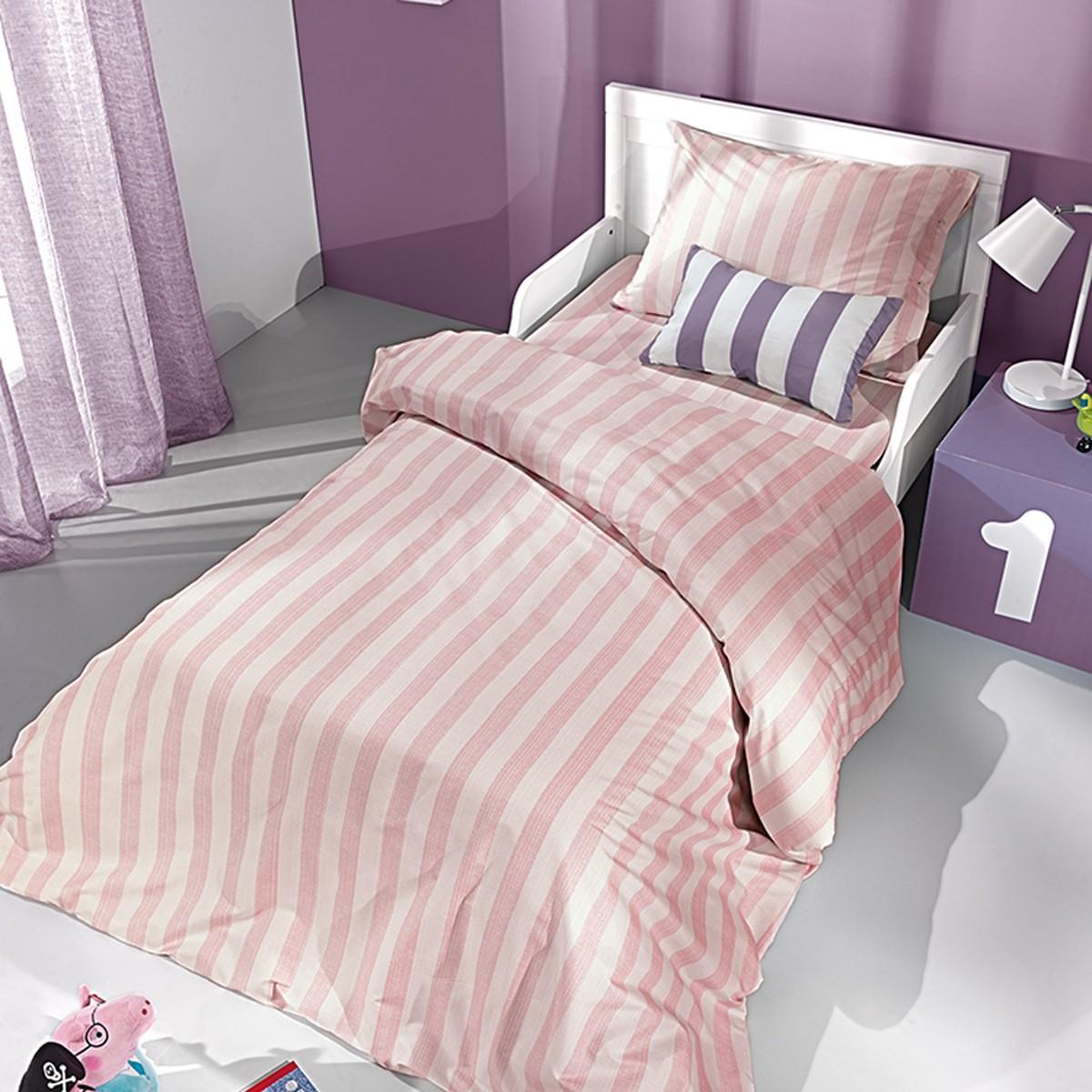 Παπλωματοθήκη Μονή Saint Clair Pink Stripes