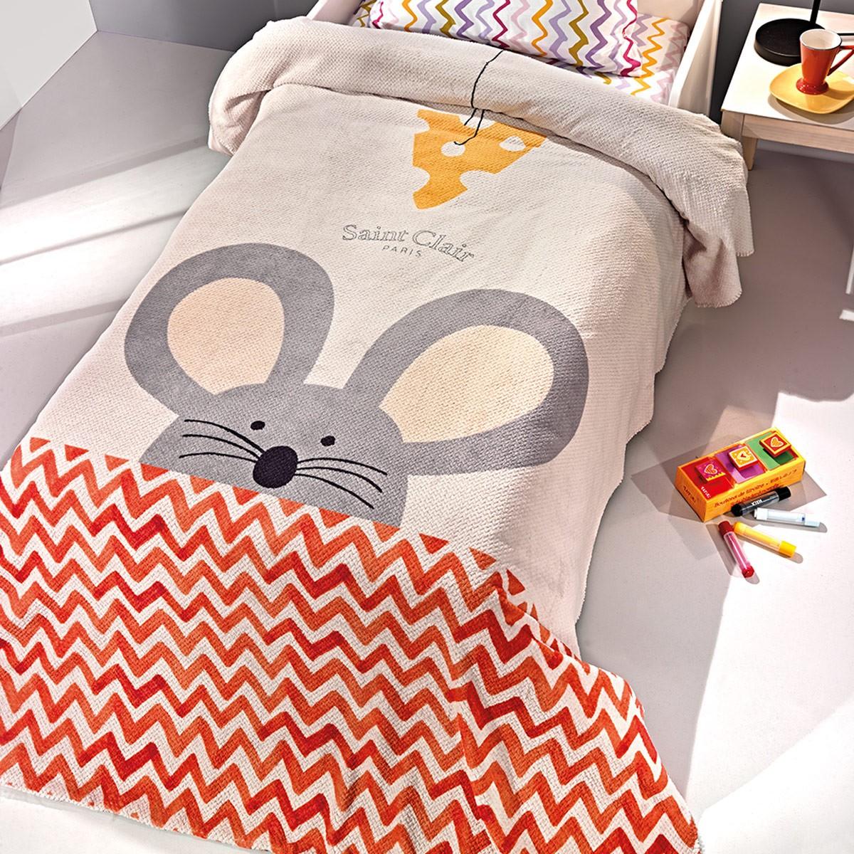Κουβέρτα Fleece Μονή Saint Clair Ultra Soft Mouse 59963