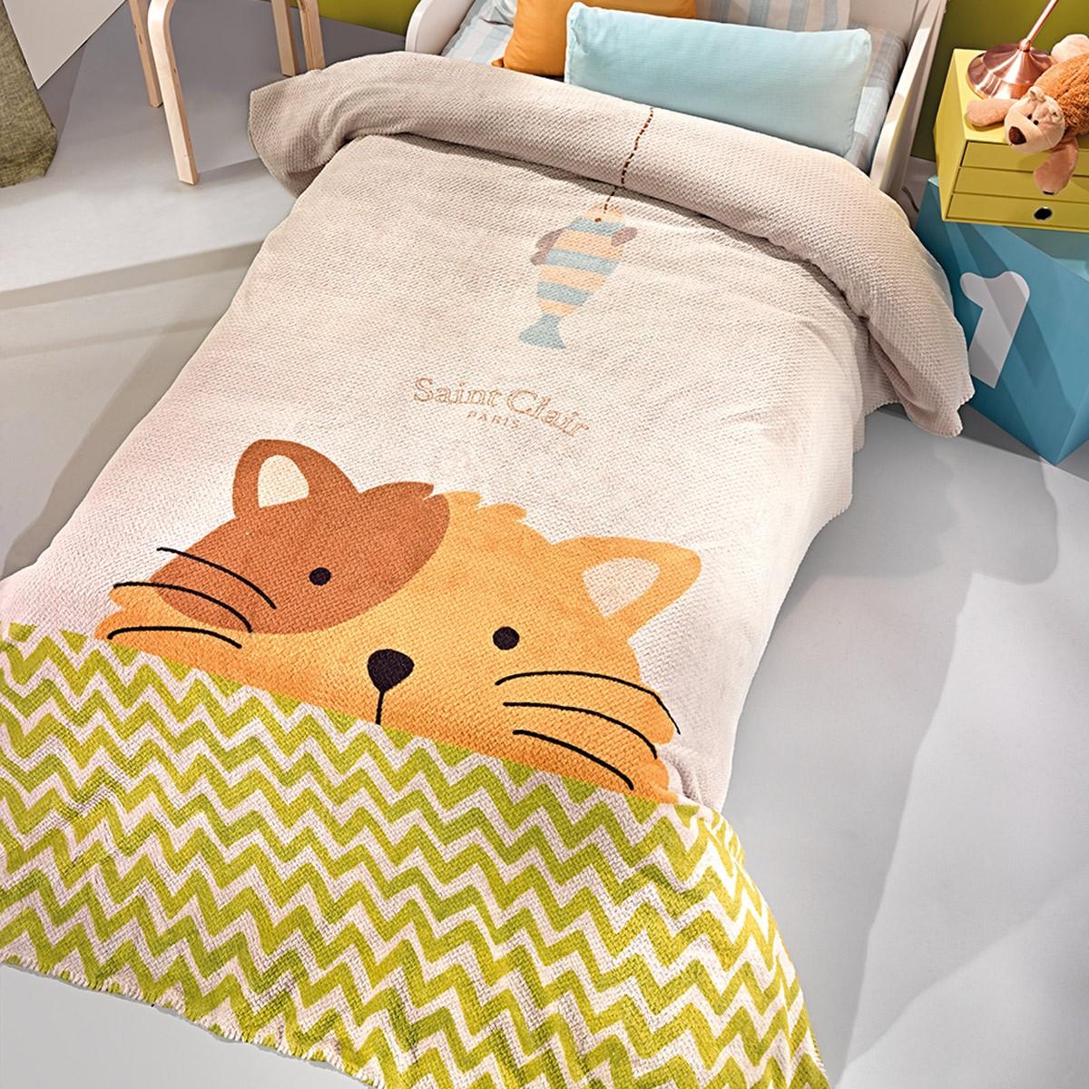 Κουβέρτα Fleece Μονή Saint Clair Ultra Soft Idea 59964
