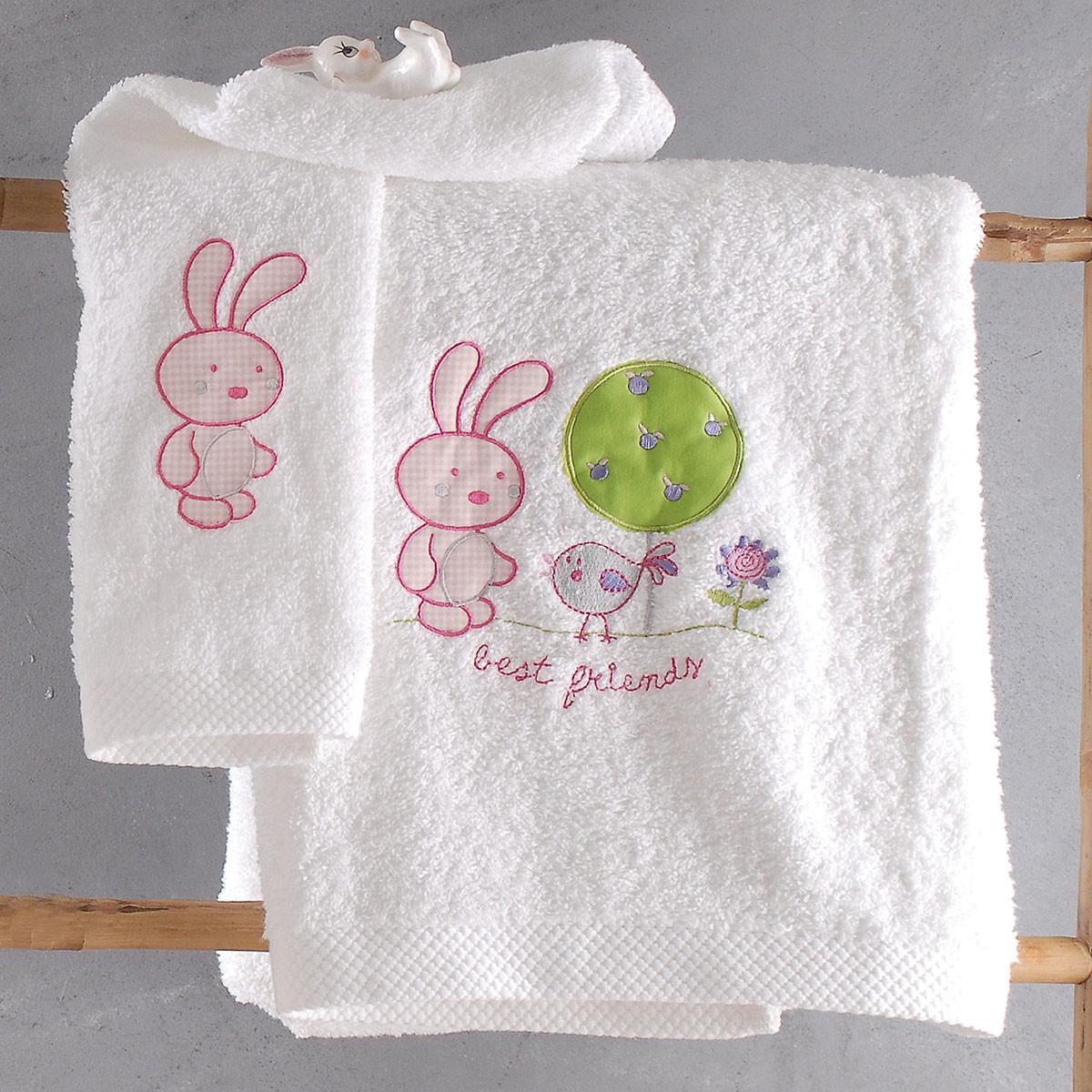 Βρεφικές Πετσέτες (Σετ 2τμχ) Rythmos Kids Sweet Summer Pink home   βρεφικά   πετσέτες βρεφικές