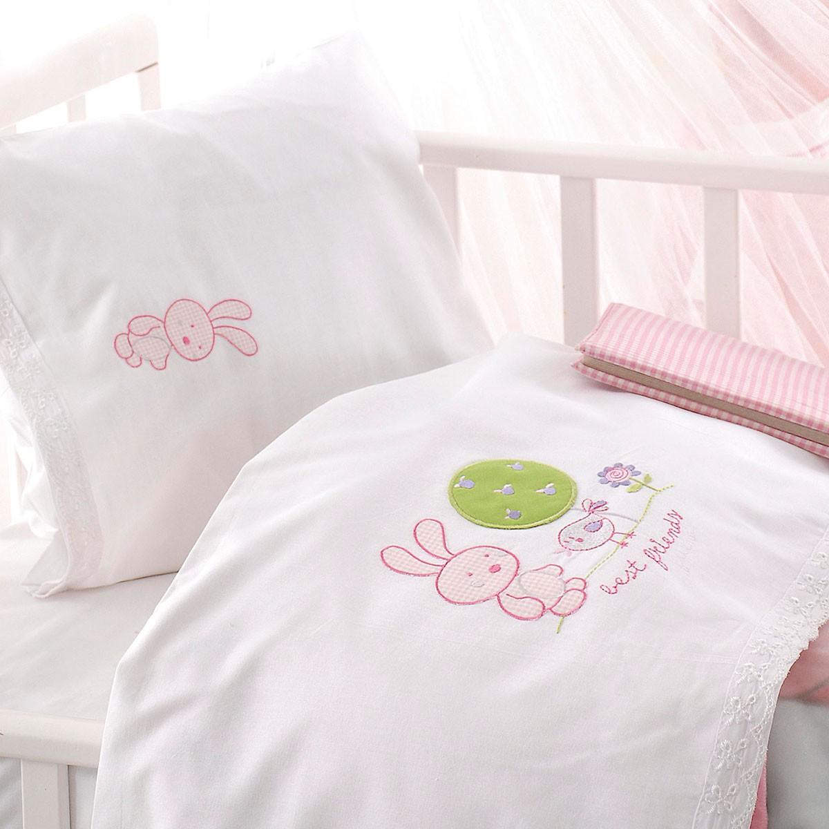 Σεντόνια Κούνιας (Σετ) Rythmos Sweet Summer Pink home   βρεφικά   σεντόνια βρεφικά