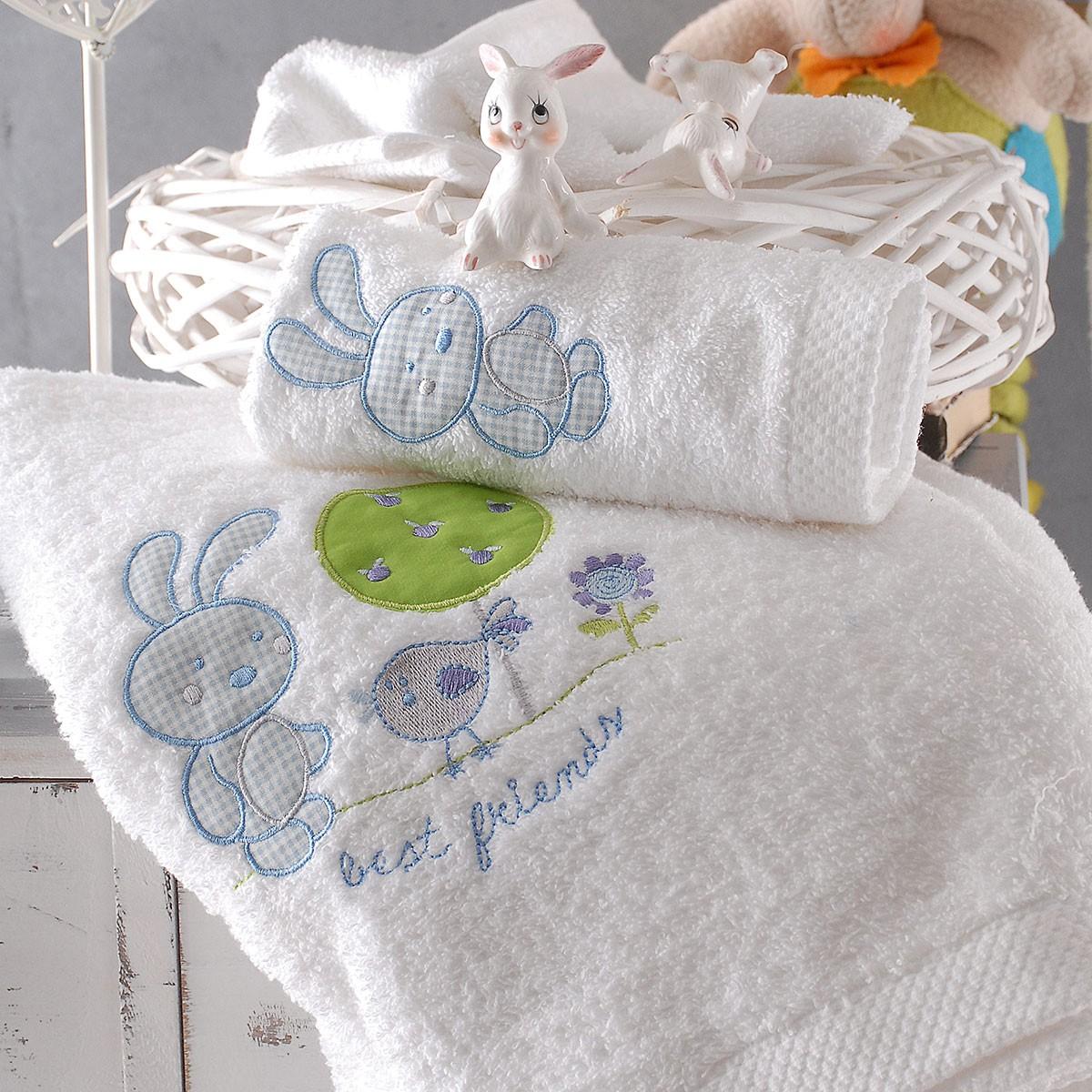 Βρεφικές Πετσέτες (Σετ 2τμχ) Rythmos Kids Sweet Summer Blue home   βρεφικά   πετσέτες βρεφικές