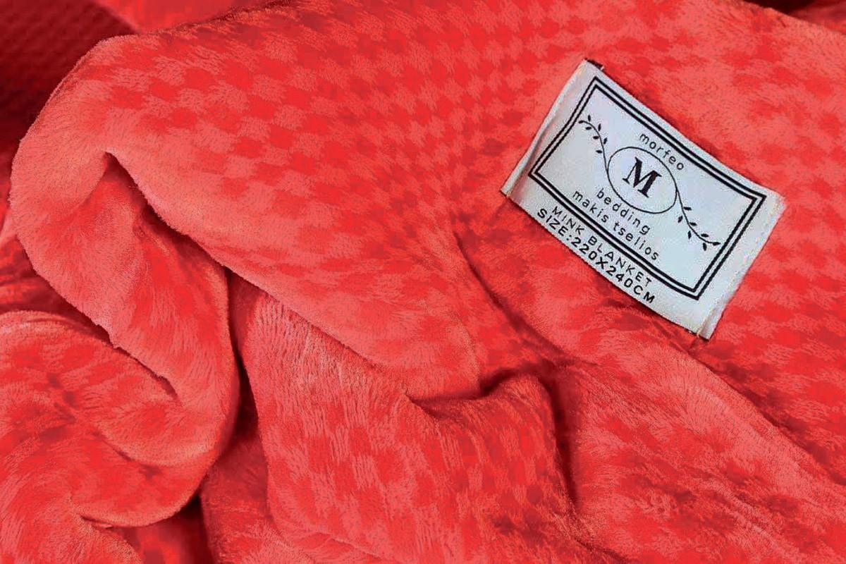 Κουβέρτα Βελουτέ Υπέρδιπλη Makis Tselios Four Red