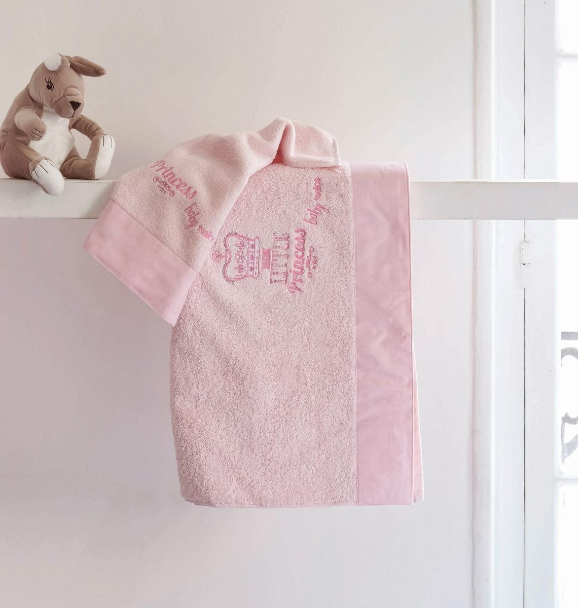 Βρεφικές Πετσέτες (Σετ 2τμχ) Makis Tselios Crown Pink