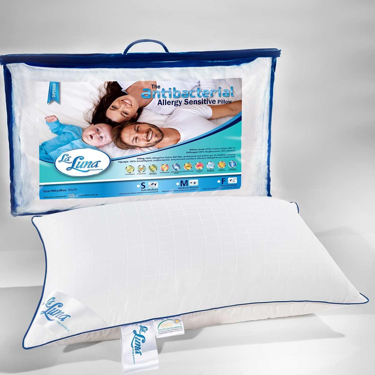 Μαξιλάρι Ύπνου Αντιαλλεργικό La Luna Antibacterial Firm