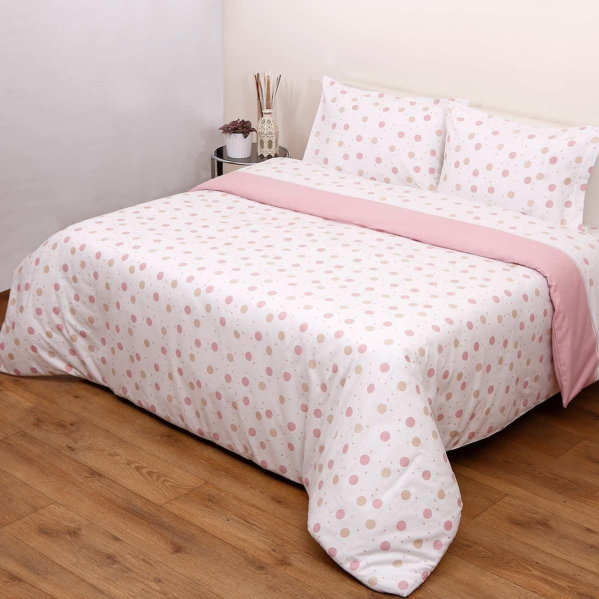 Φανελένια Σεντόνια Υπέρδιπλα (Σετ) Viopros 8692 Ροζ