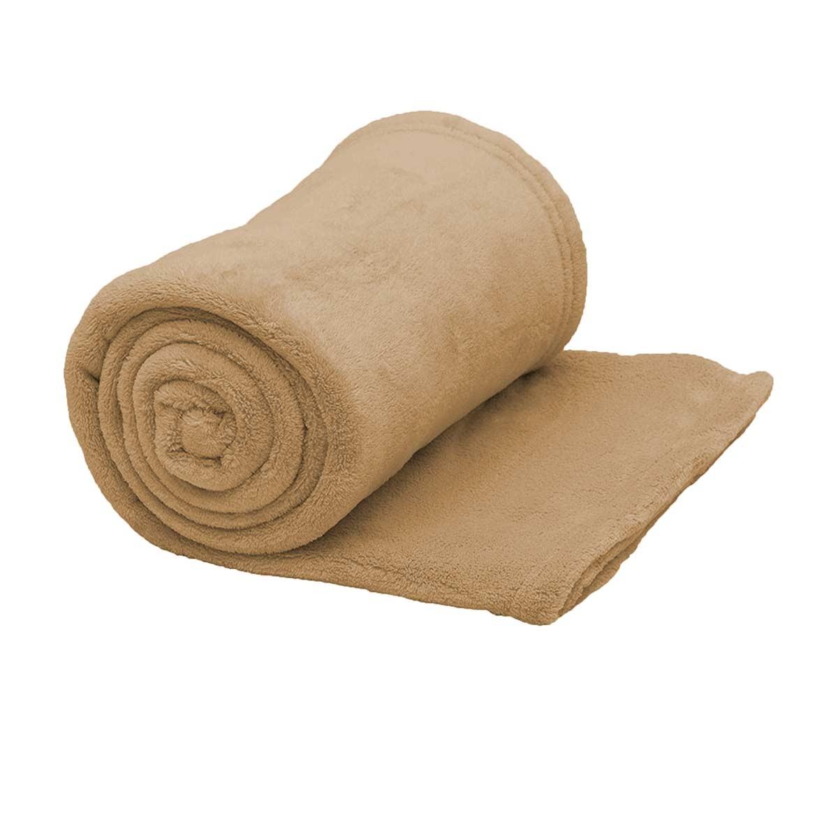 Κουβέρτα Fleece Μονή Viopros Μπεζ