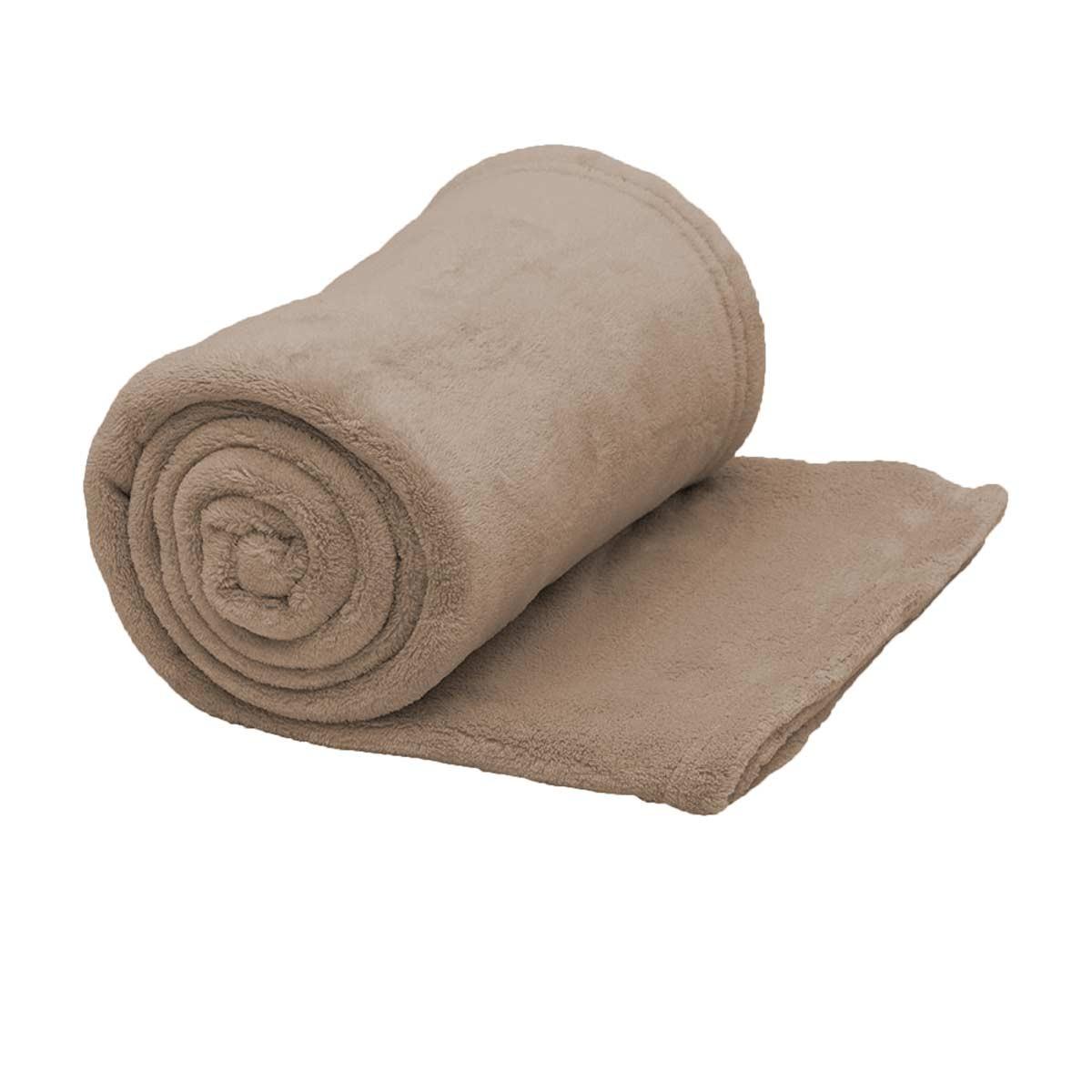 Κουβέρτα Fleece Υπέρδιπλη Viopros Λινό 60900