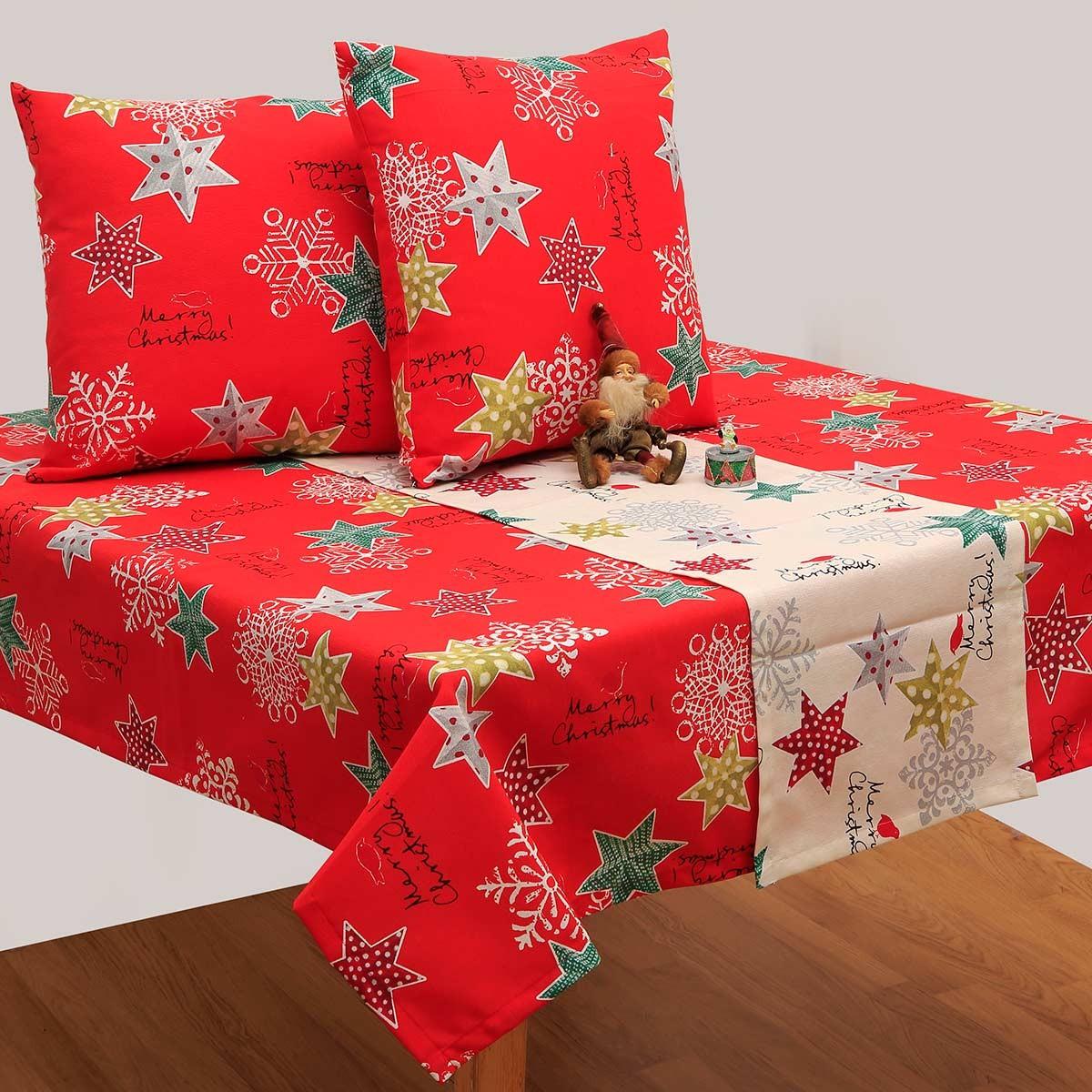 Χριστουγεννιάτικο Τραπεζομάντηλο (140x140) Viopros 4430 Κόκκινο
