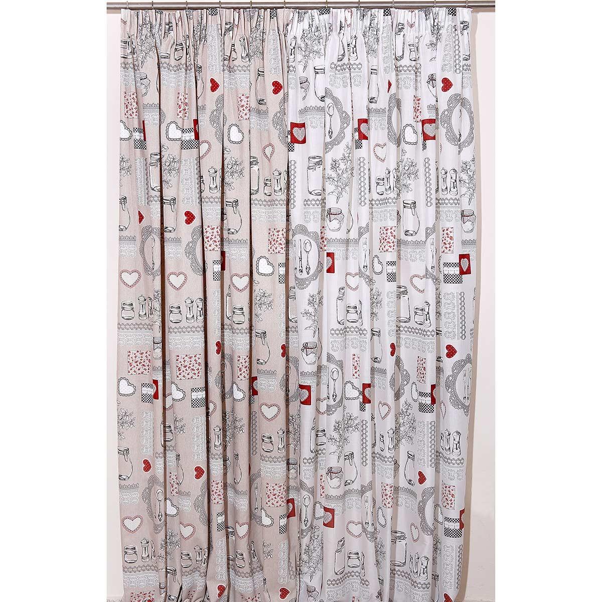 Κουρτίνα (160x270) Με Τρέσα Viopros Curtains Πέπερ