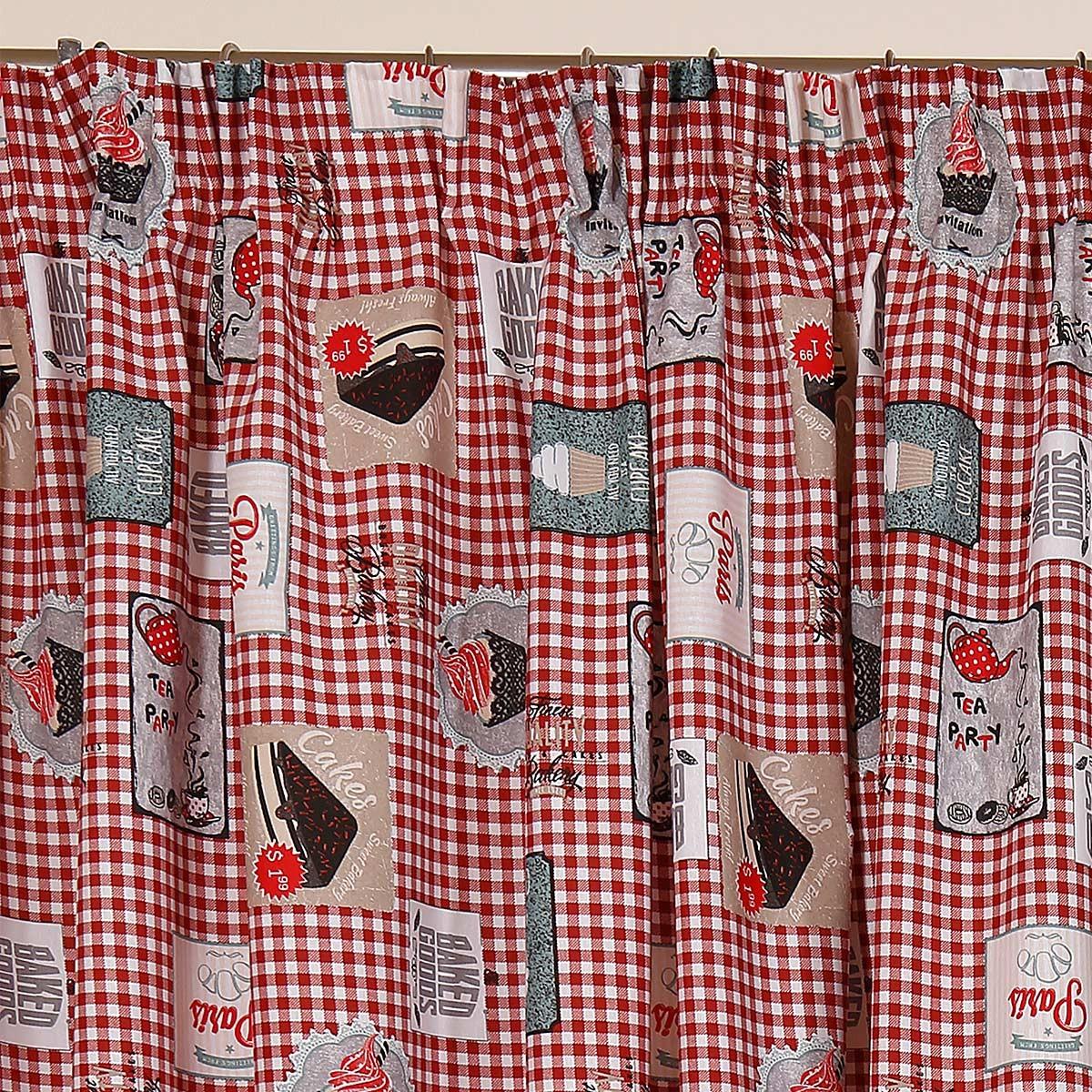 Κουρτίνα (160x270) Viopros Curtains Κέικ Κόκκινο
