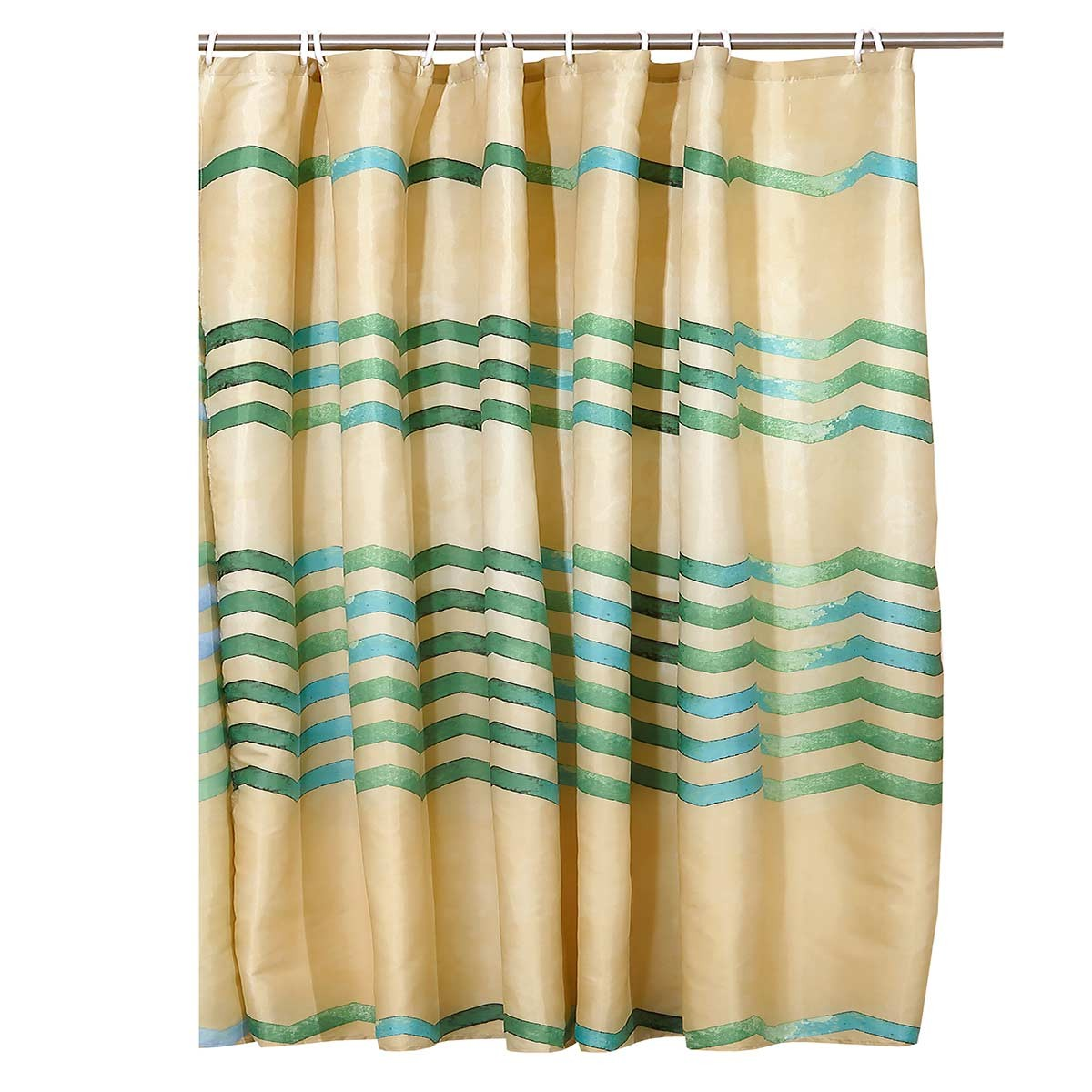 Κουρτίνα Μπάνιου (180x180) Viopros Ζικ Ζακ Πράσινο