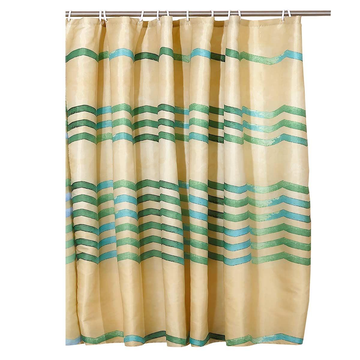 Κουρτίνα Μπάνιου (240×180) Viopros Ζικ Ζακ Πράσινο