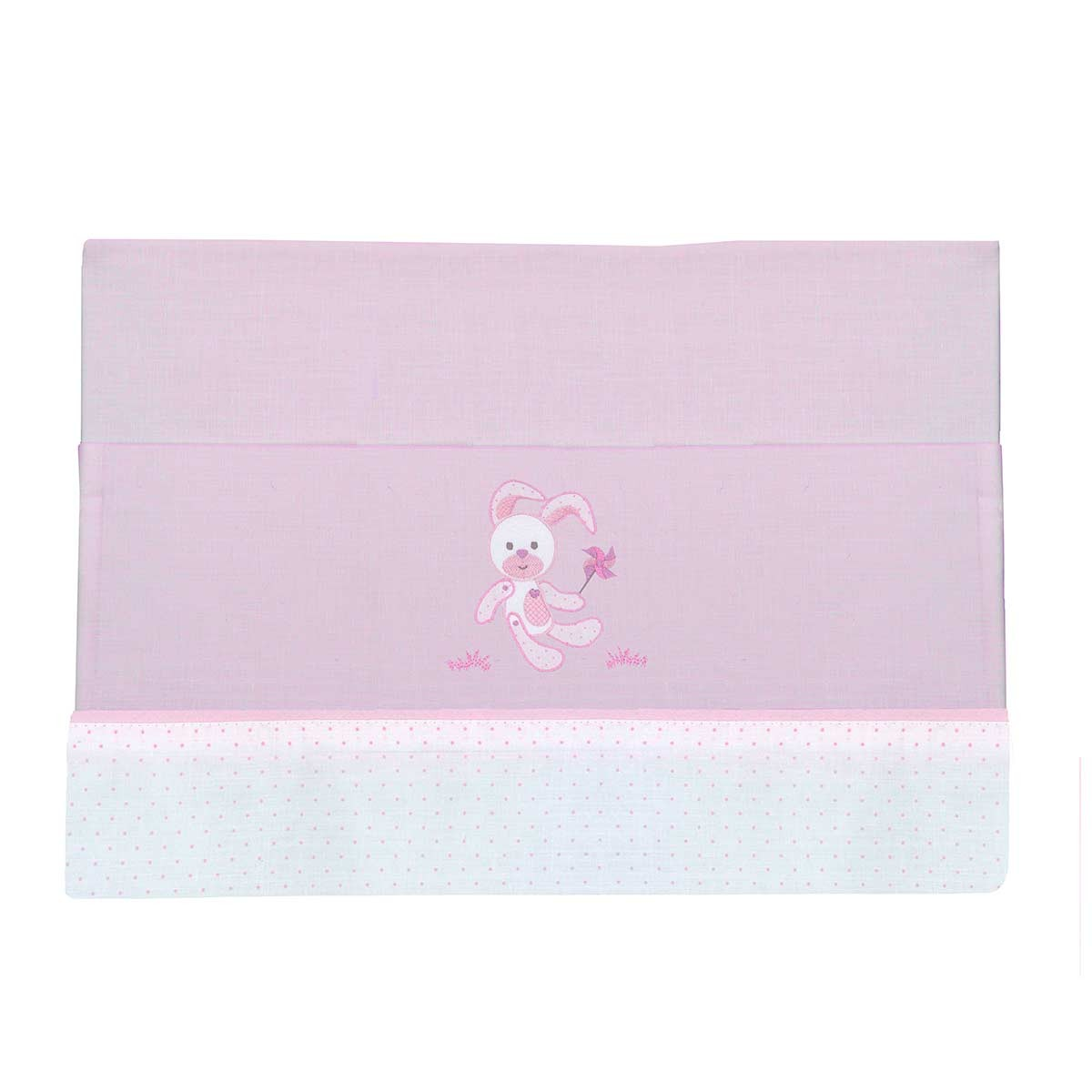 Σεντόνια Κούνιας (Σετ) Viopros Baby Applique Ρόκι Ροζ