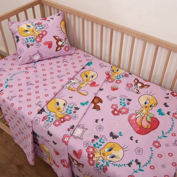 Σεντόνια Λίκνου (Σετ) Viopros Baby Tweety