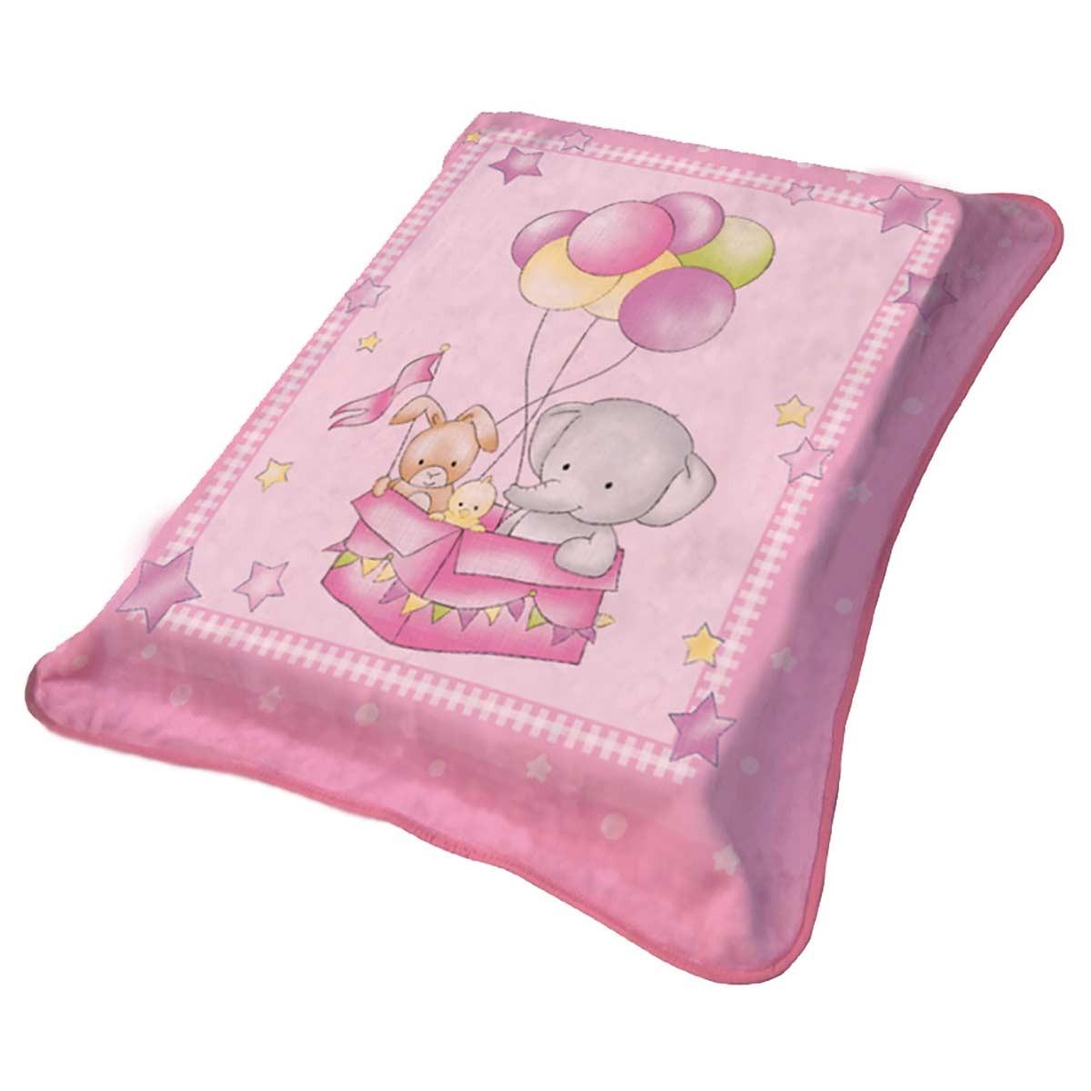 Κουβέρτα Βελουτέ Κούνιας Viopros 1024 Ροζ