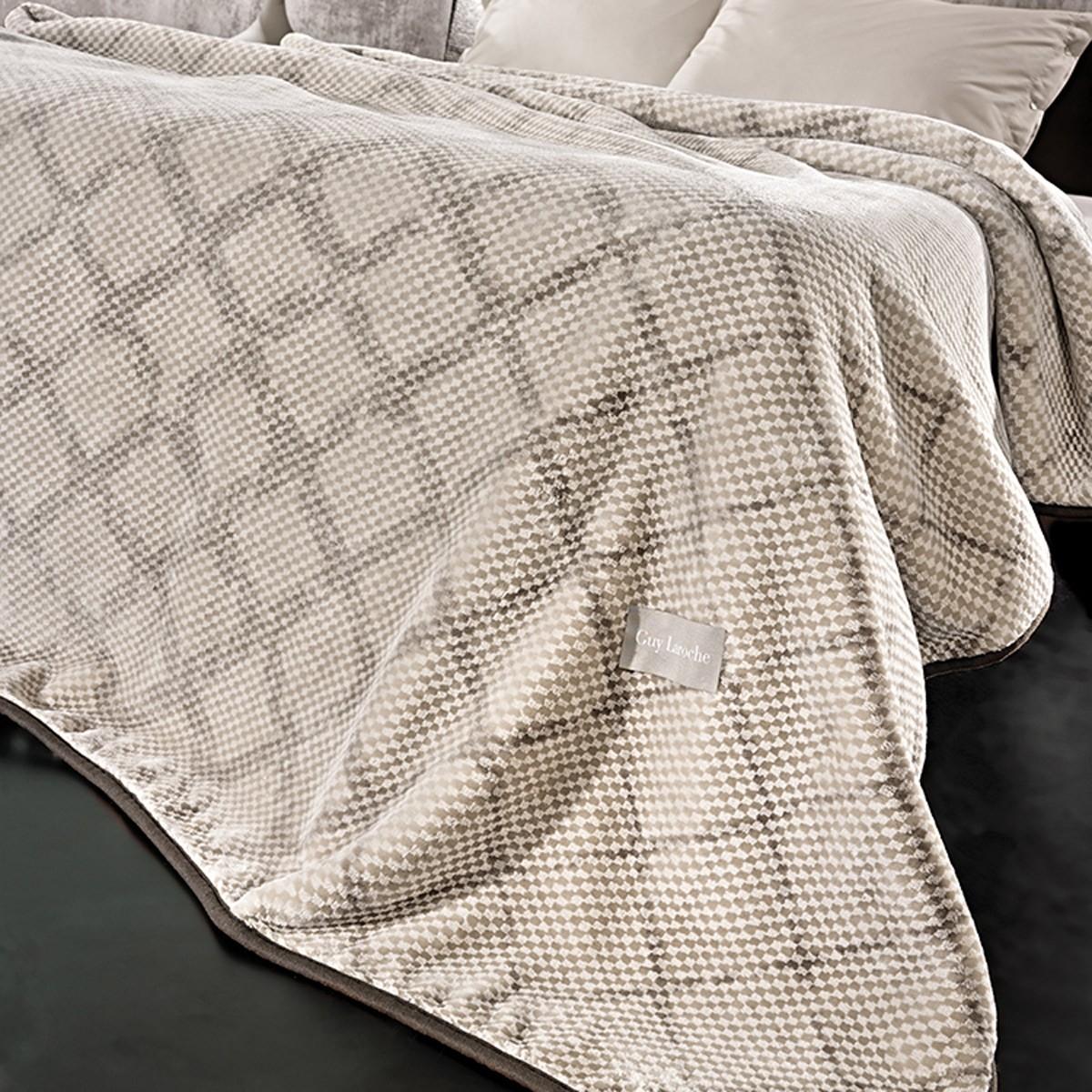 Κουβέρτα Βελουτέ Υπέρδιπλη Guy Laroche Maroon Silver