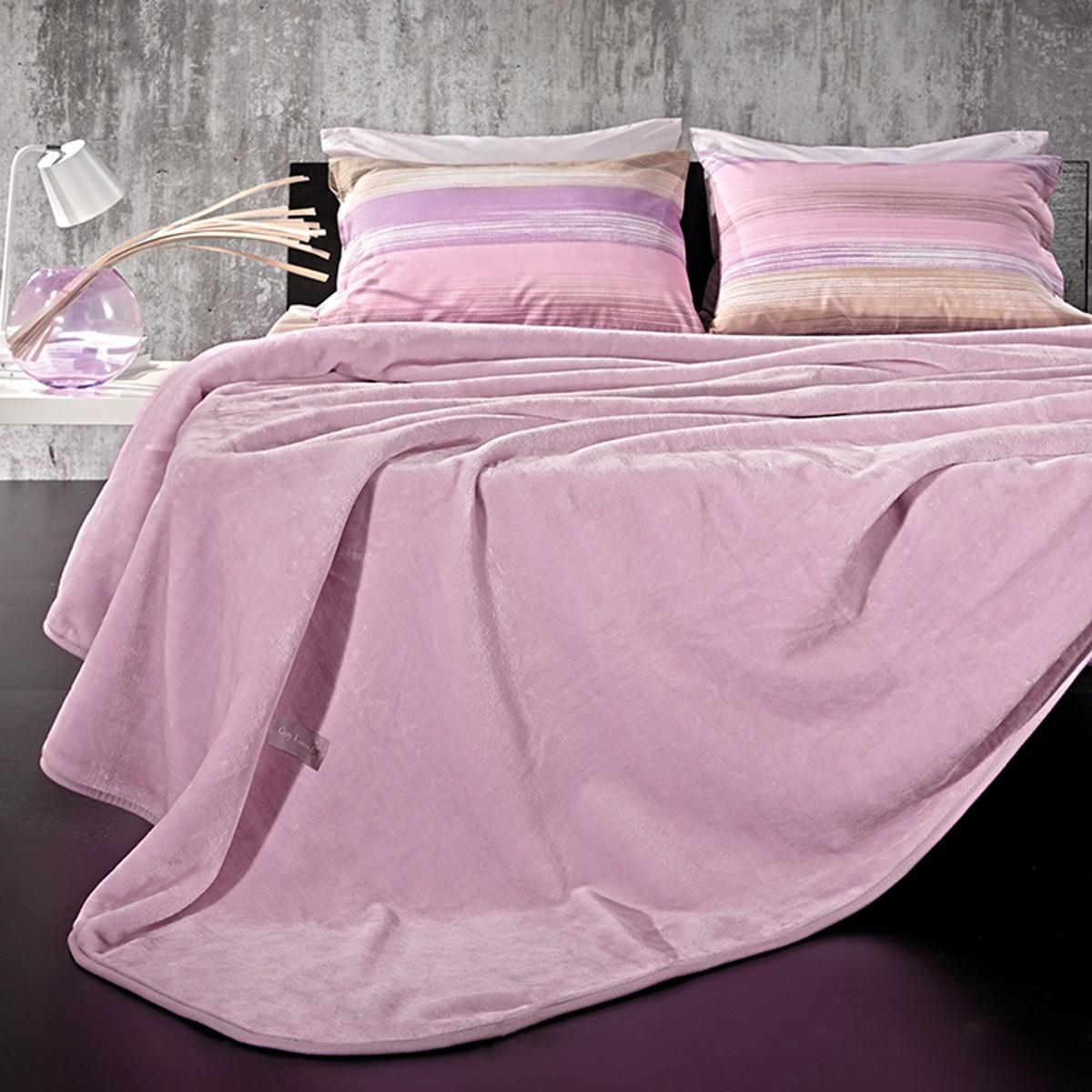 Κουβέρτα Βελουτέ Υπέρδιπλη Guy Laroche Solid Violet