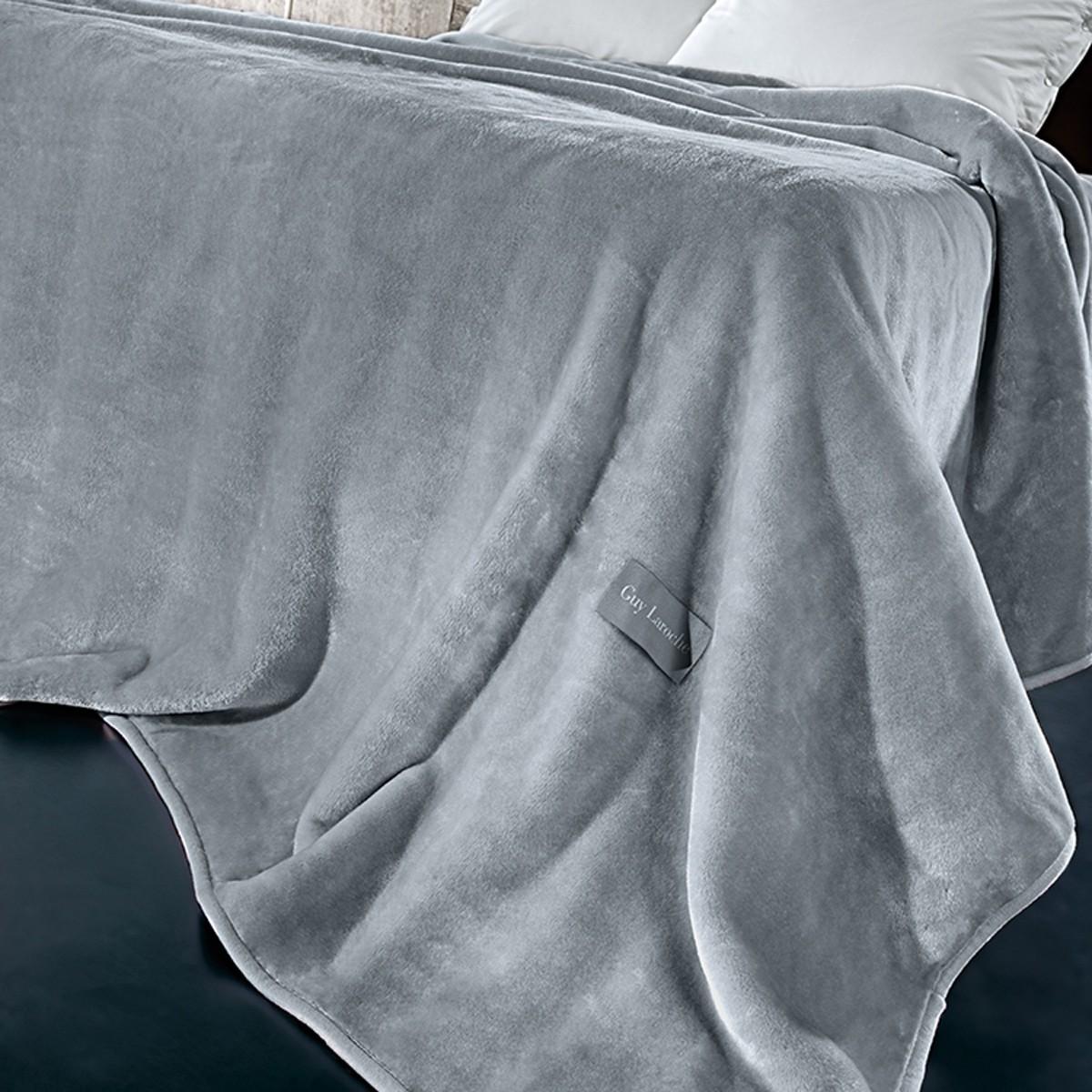 Κουβέρτα Βελουτέ Υπέρδιπλη Guy Laroche Solid Grey