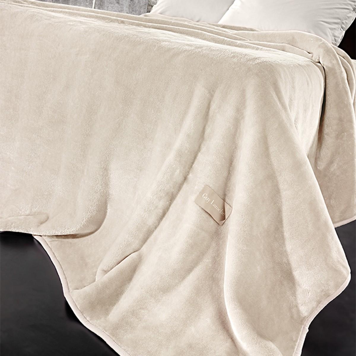 Κουβέρτα Βελουτέ Υπέρδιπλη Guy Laroche Solid Cream