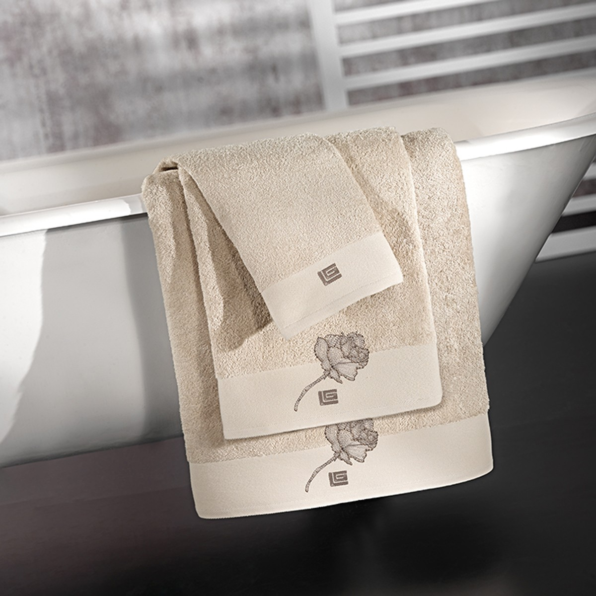 Πετσέτες Μπάνιου (Σετ 3τμχ) Guy Laroche Celia Natural