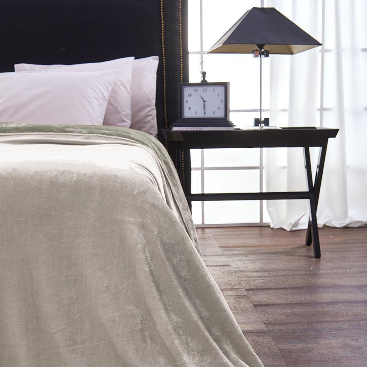 Κουβέρτα Fleece Μονή Διπλής Όψης V19.69 Abbracio Ivory