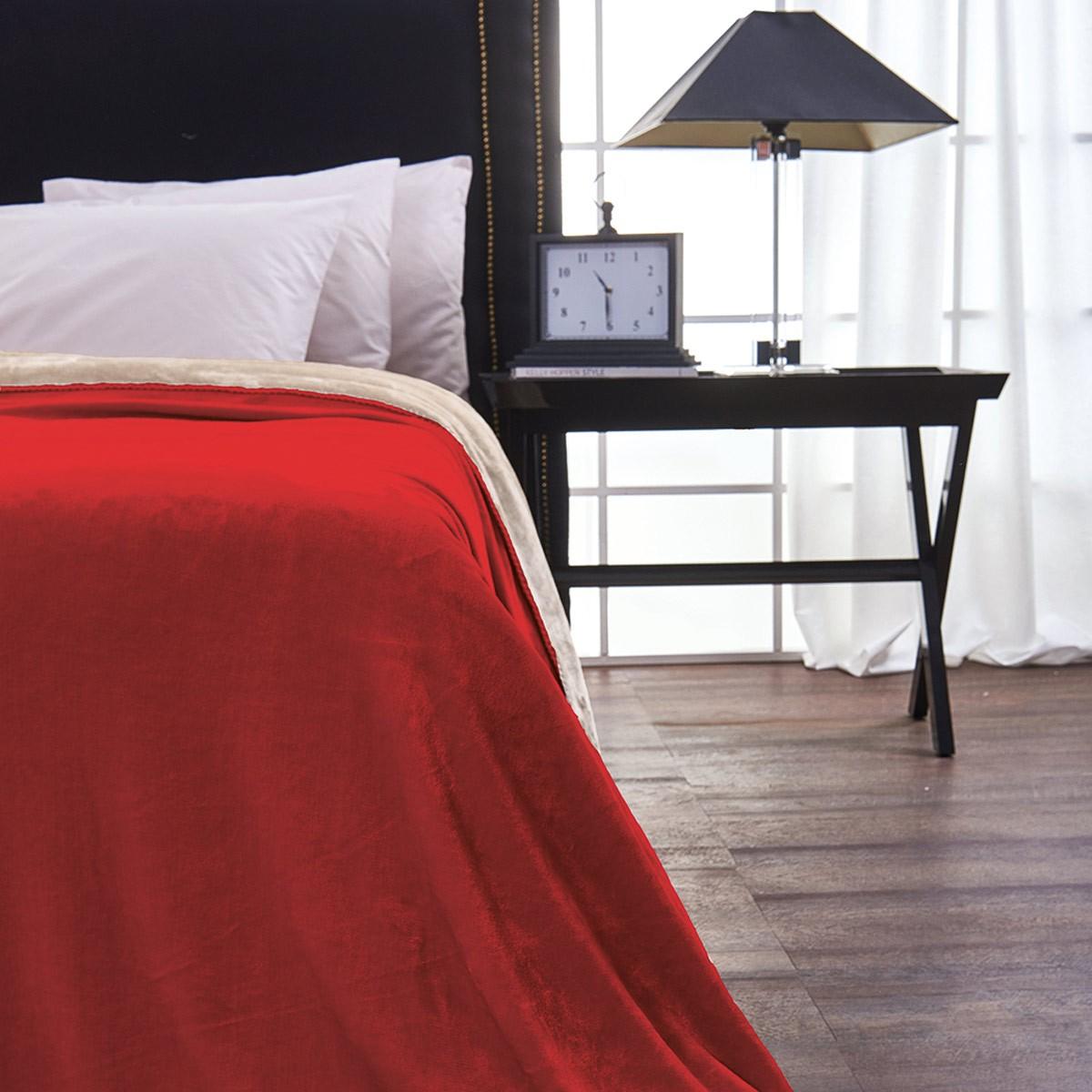 Κουβέρτα Fleece Μονή Διπλής Όψης V19.69 Abbracio Cherry