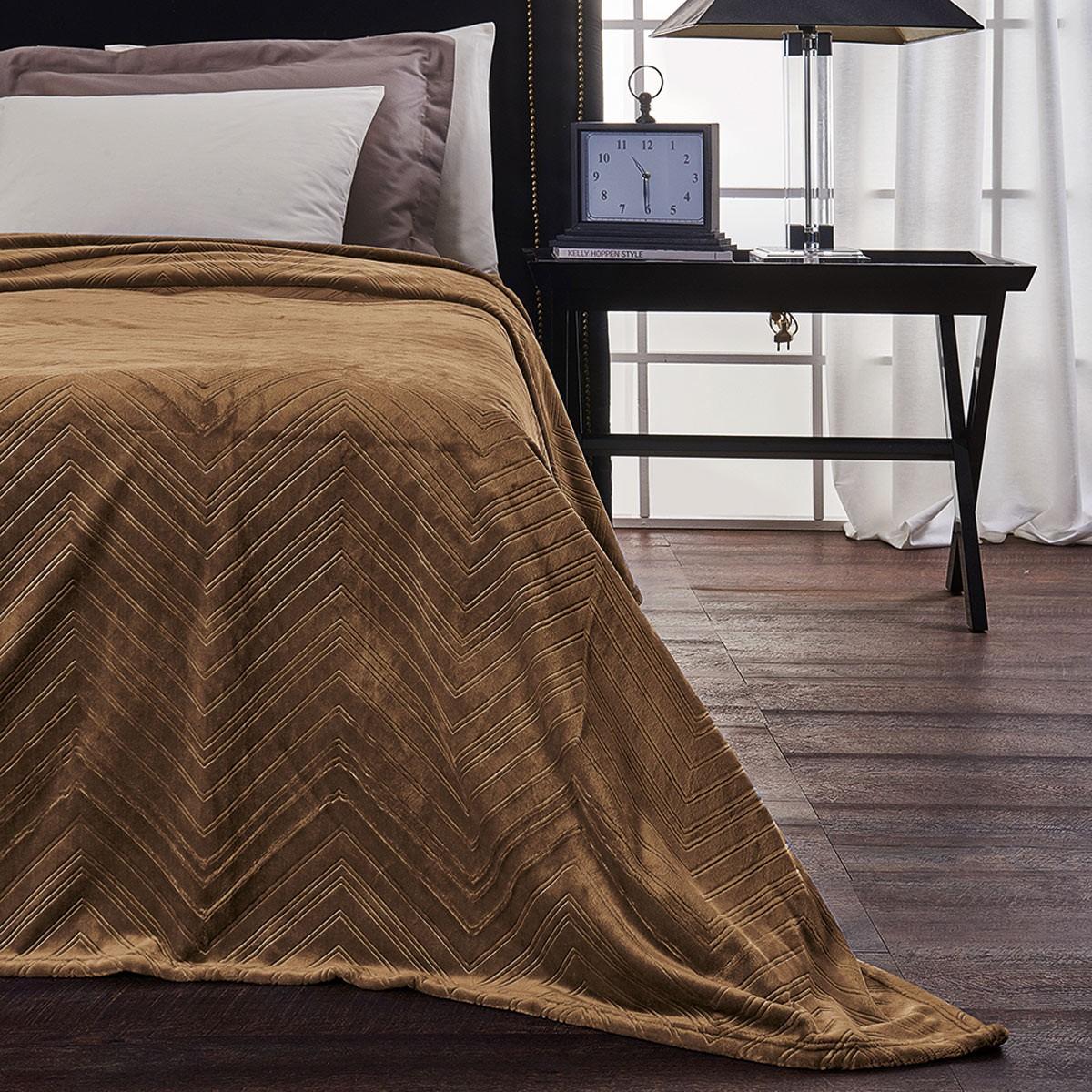 Κουβέρτα Fleece Υπέρδιπλη V19.69 Angolo Chocolate