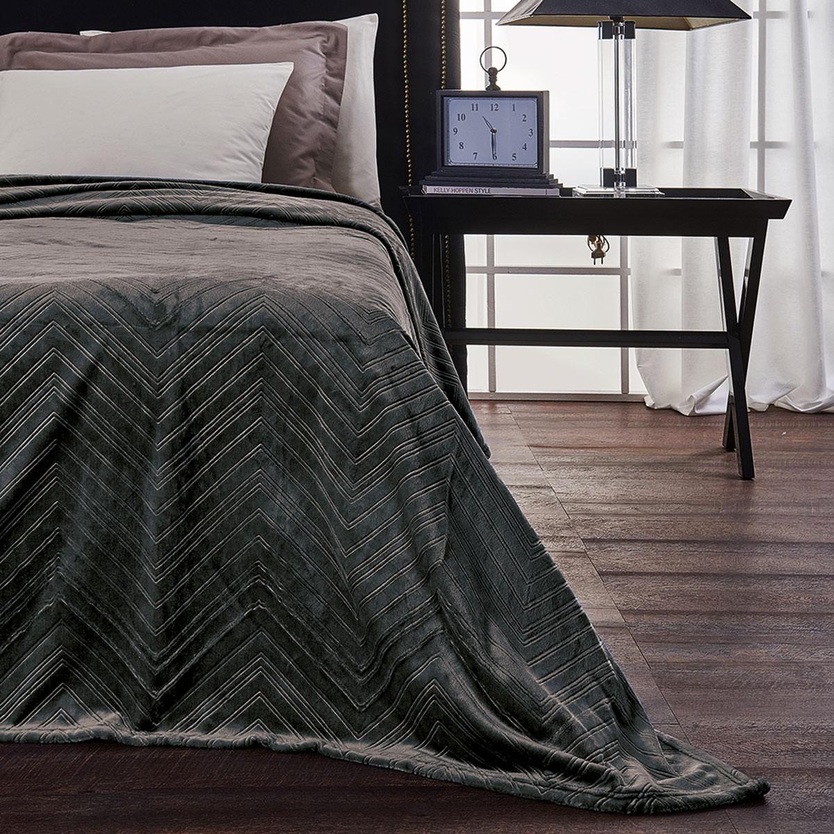 Κουβέρτα Fleece Υπέρδιπλη V19.69 Angolo Carbone