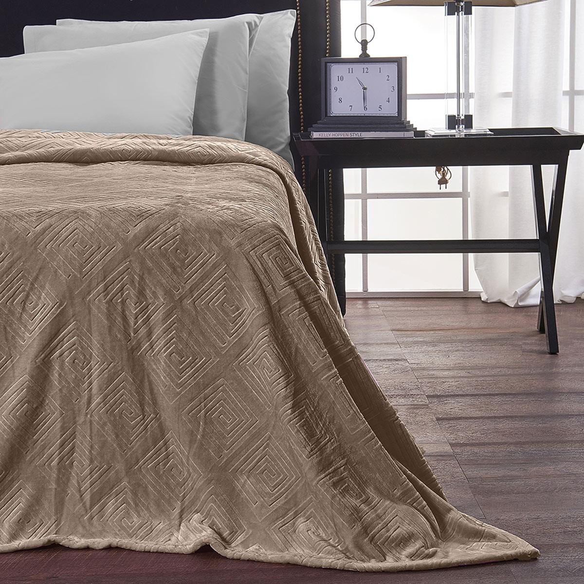 Κουβέρτα Fleece Μονή V19.69 Meandro Taupe