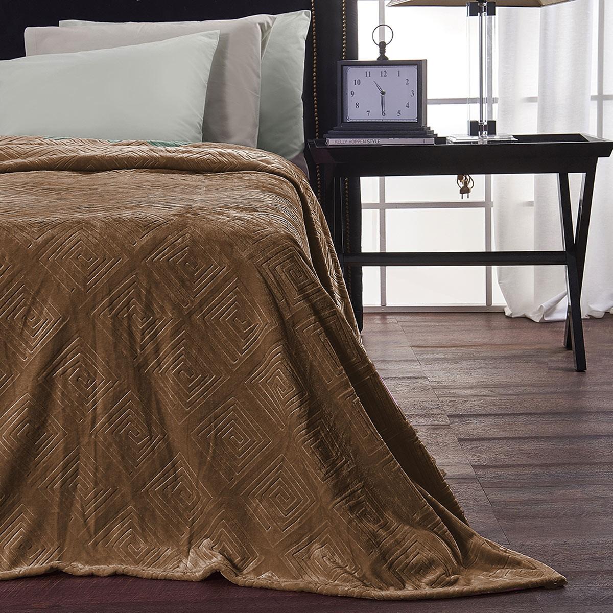 Κουβέρτα Fleece Μονή V19.69 Meandro Chocolate